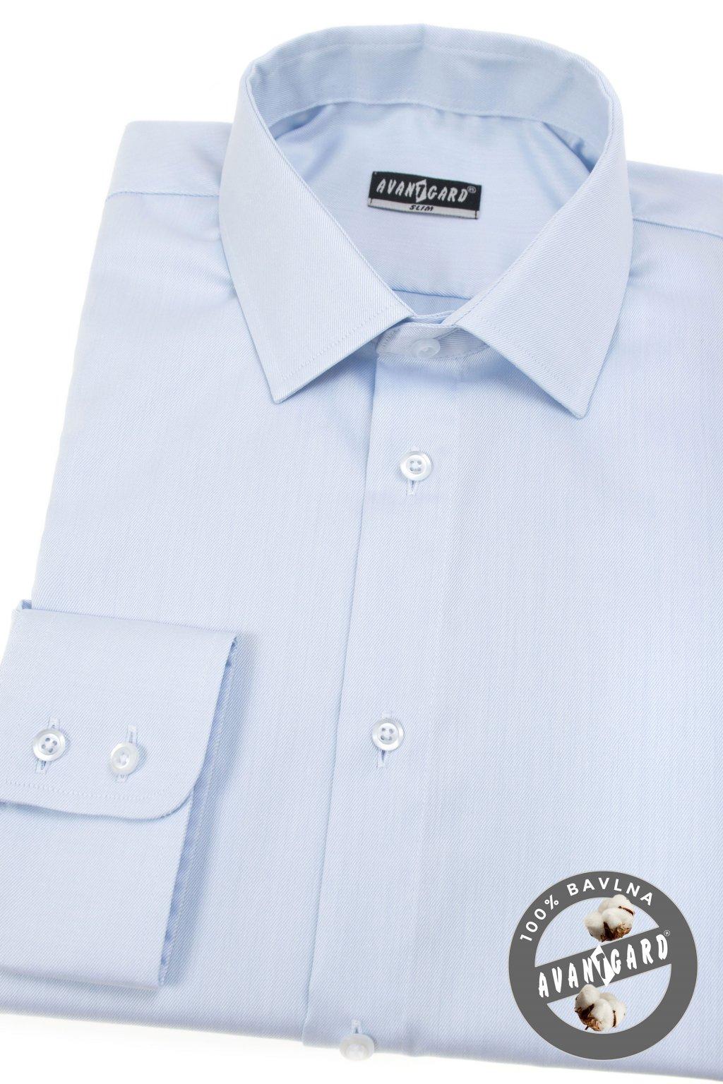 Pánská košile SLIM dl.rukáv modrá 109 - 4911