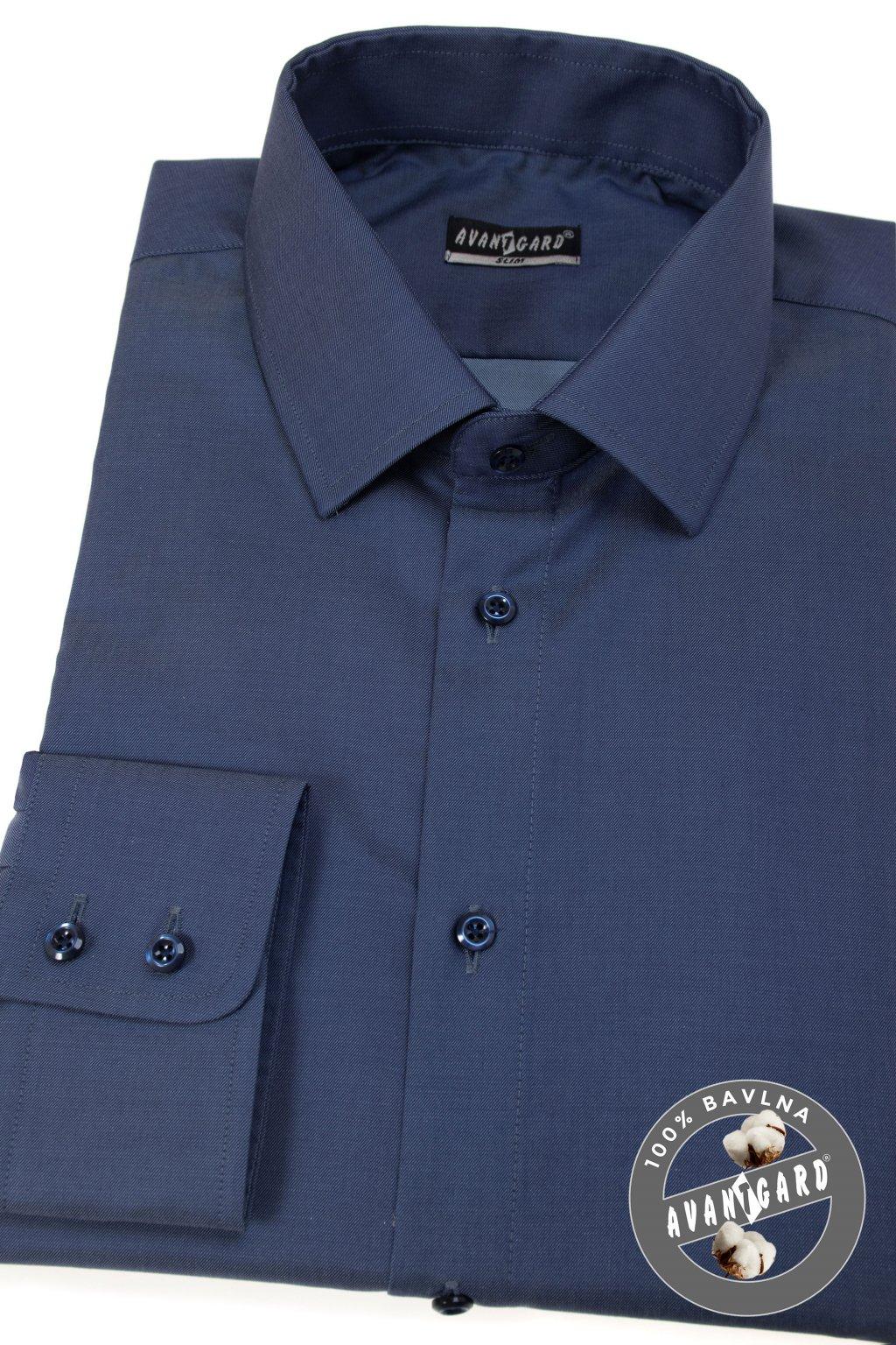 Pánská košile SLIM dl.rukáv modrá 109 - 5505