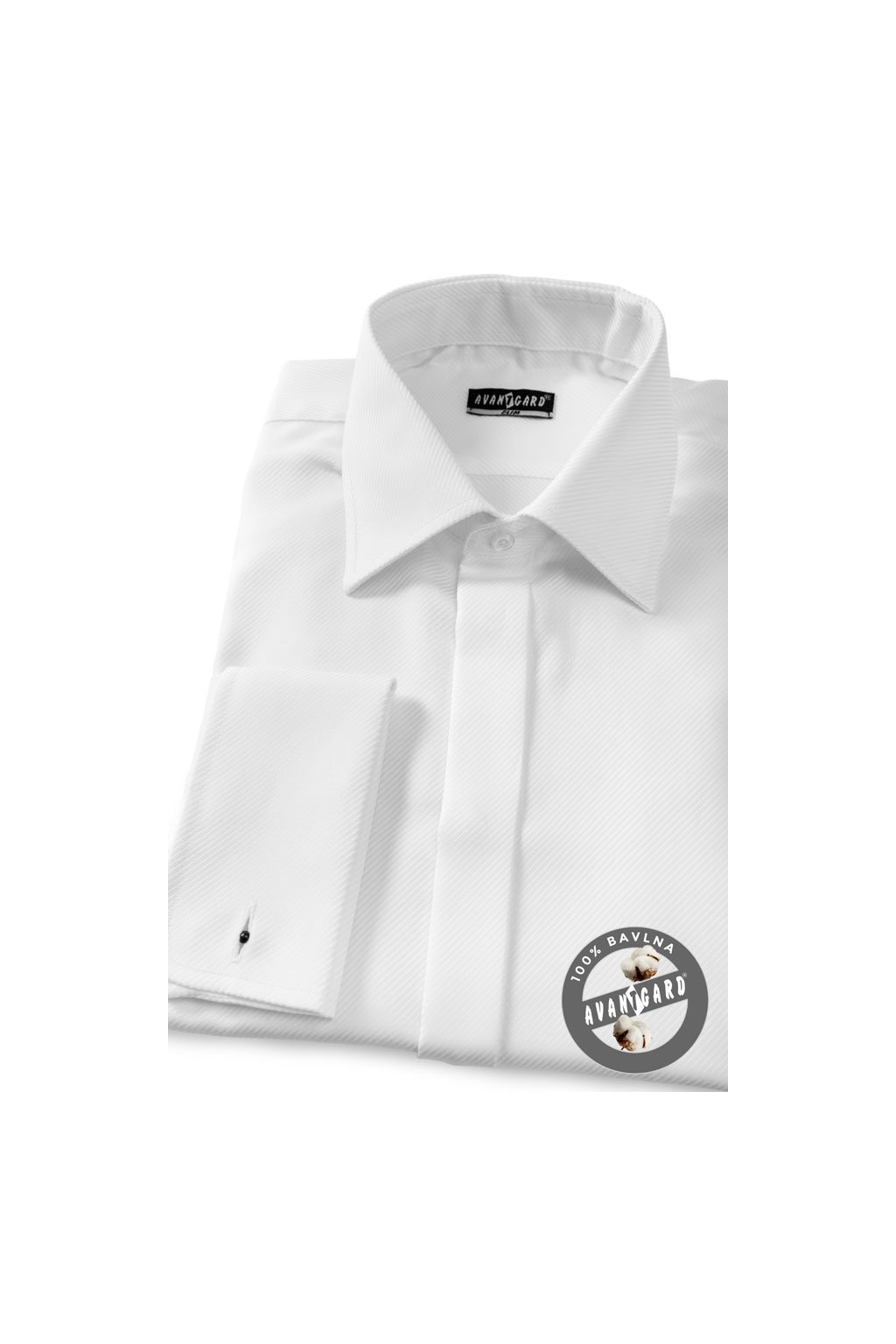 Pánská košile SLIM s krytou légou a dvojitými manžetami na manžetové knoflíčky bílá 111 - 1