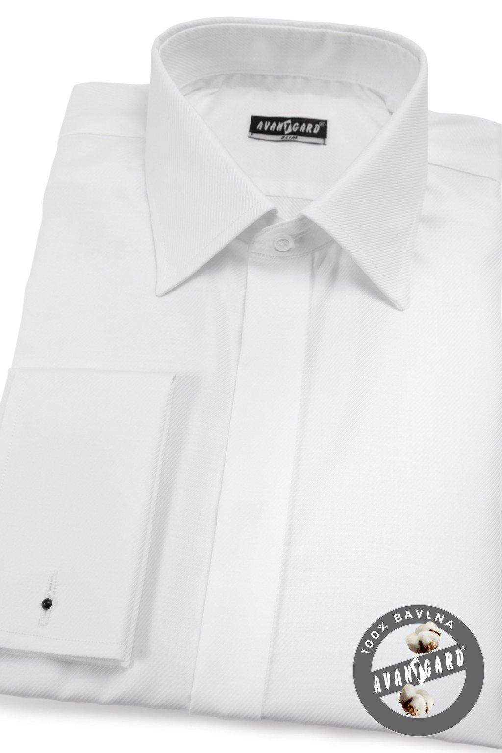 Pánská košile SLIM - krytá léga, MK bílá 111 - 97