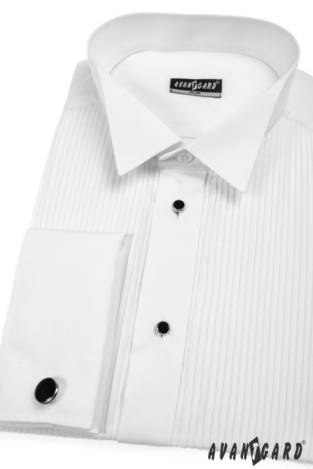 Pánská košile FRAKOVKA SLIM s dvojitými manžetami na manž. knoflíčky a sada knoflíčků bílá 112 - 1