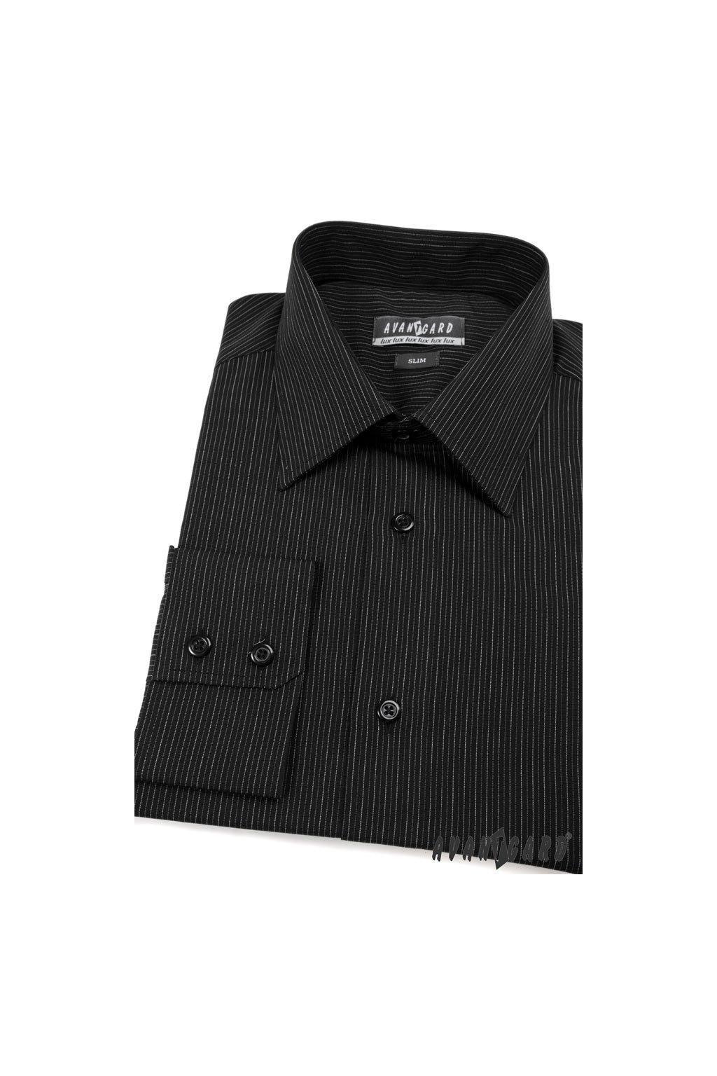 Pánská košile SLIM černá 115 - 2302