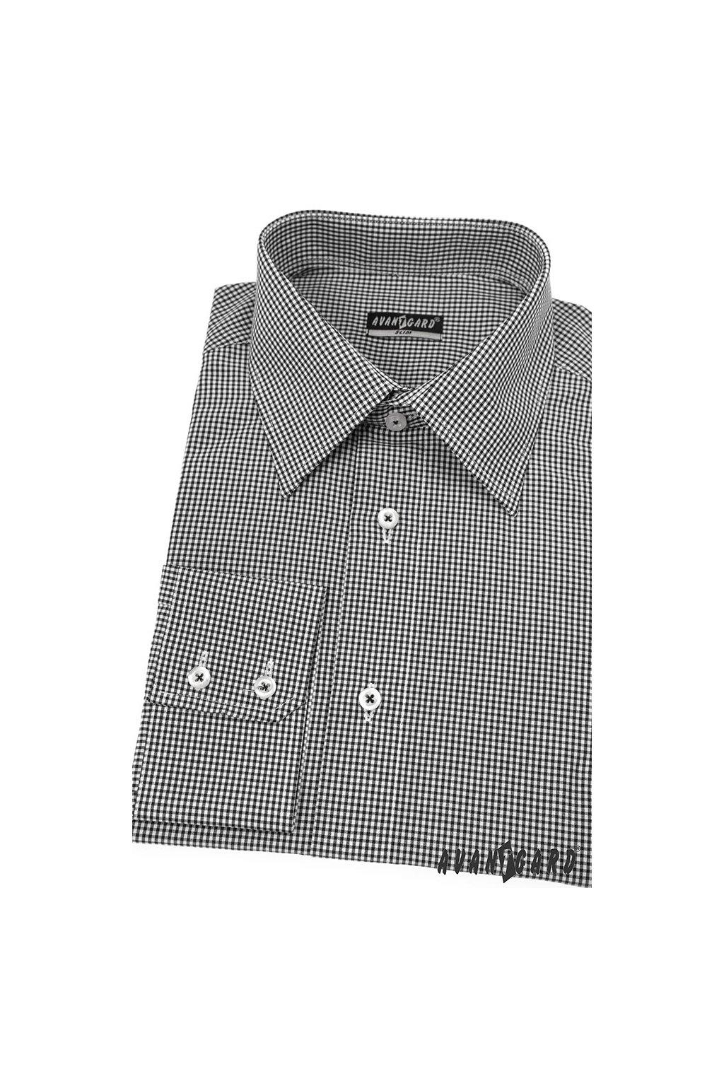 Pánská košile AVANTGARD SLIM dl. ruk. černá 115 - 2303
