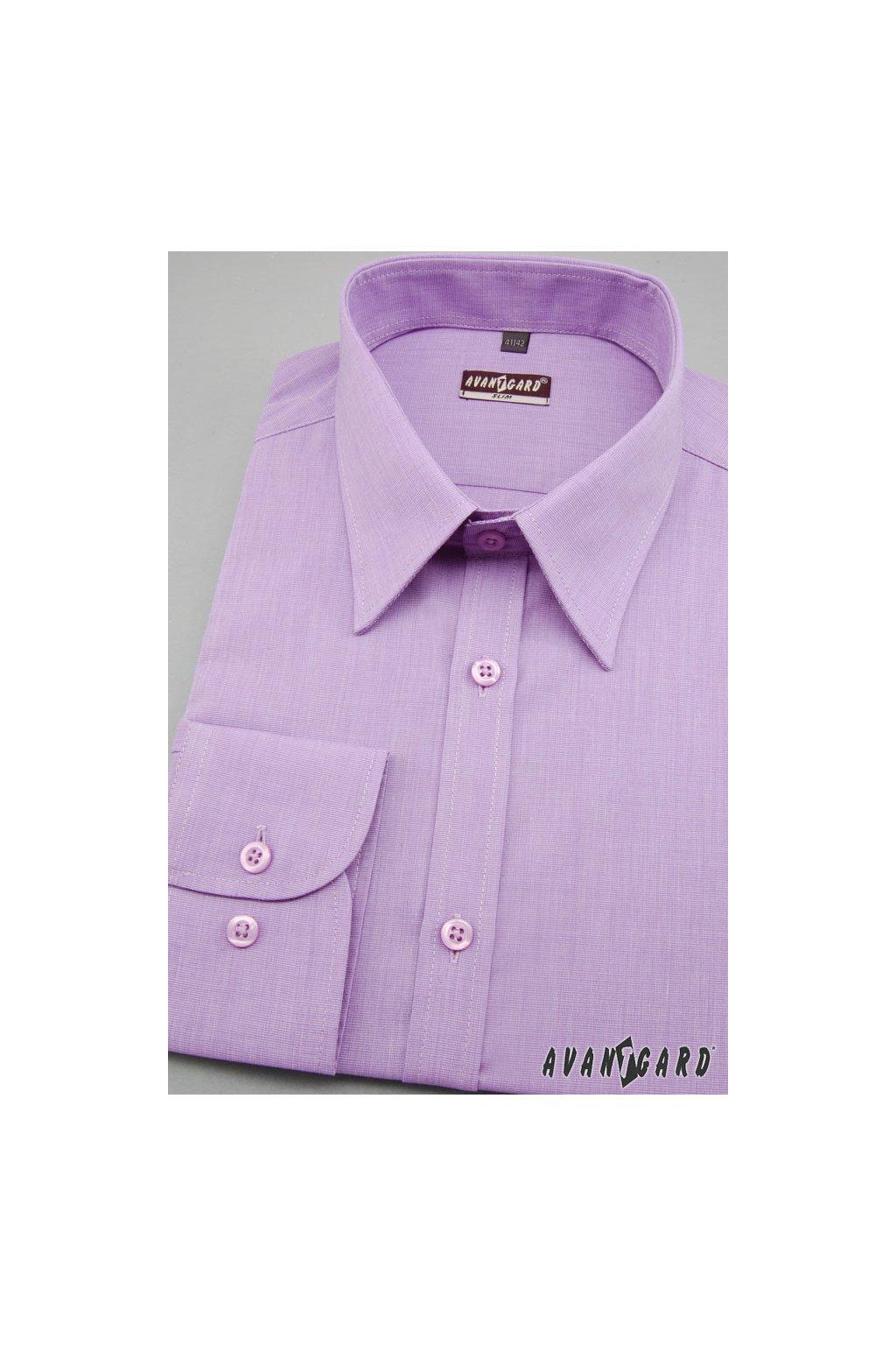 Pánská košile SLIM s dl.ruk. fialová 117 - 1736