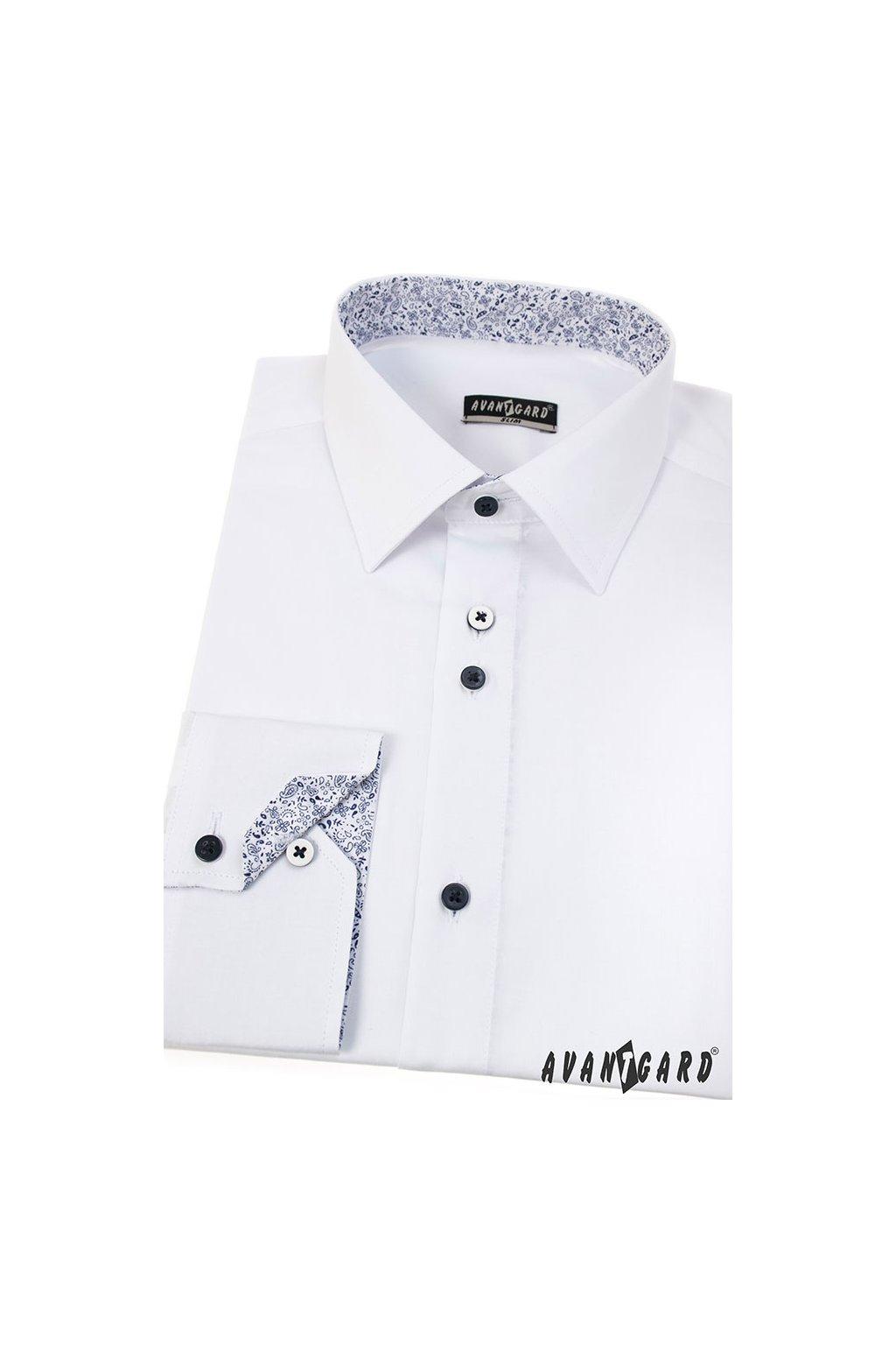Pánská košile SLIM bílá/modrá 125 - 0167