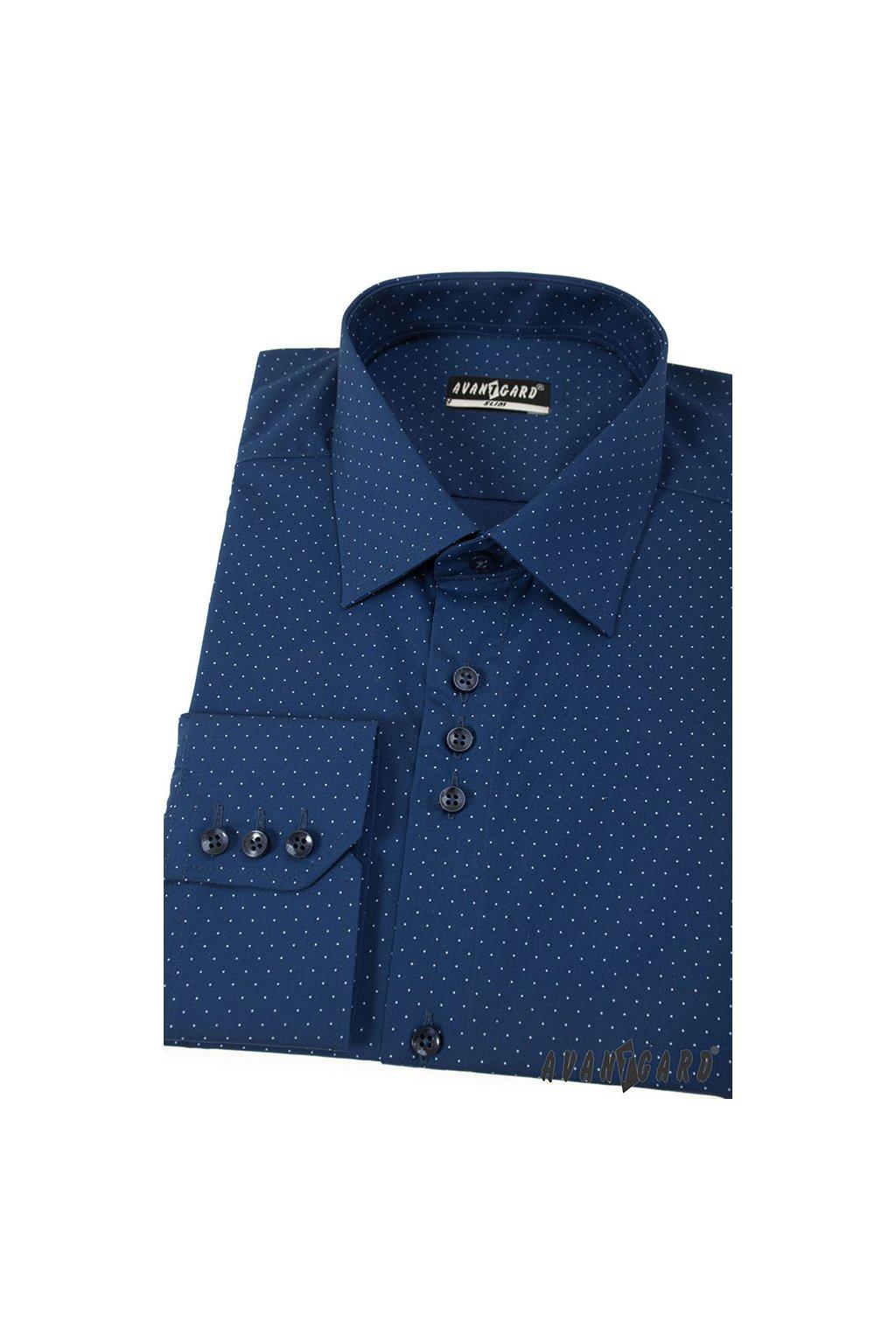Pánská košile AVANTGARD SLIM dl. ruk. modrá 125 - 3111