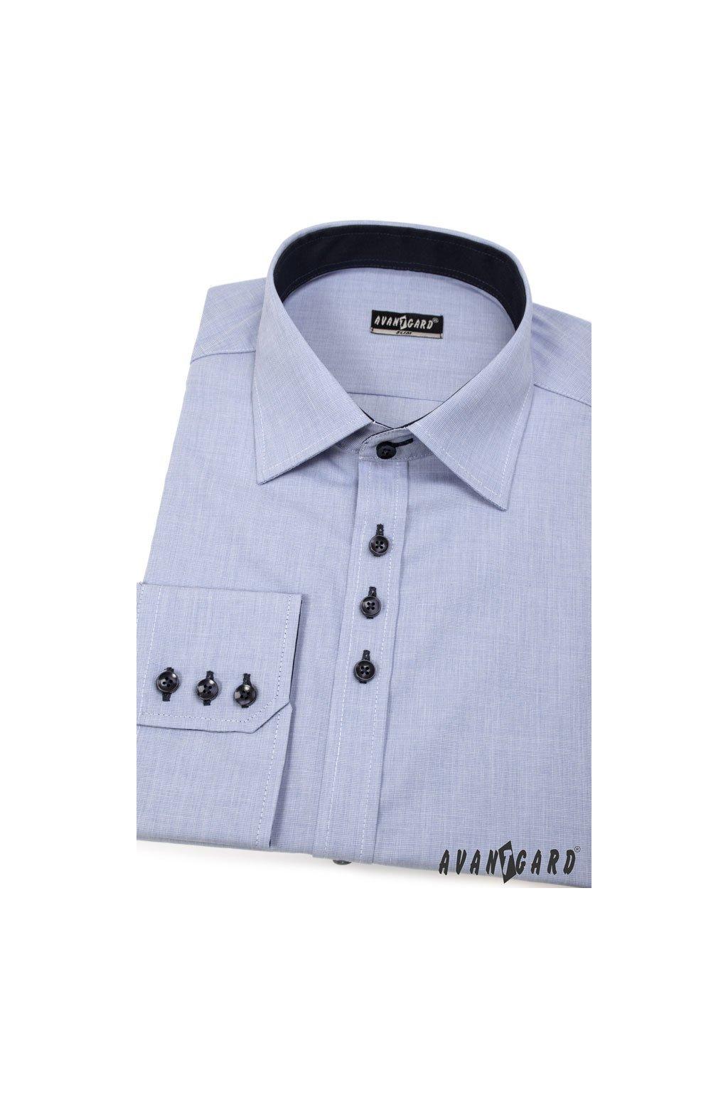 Pánská košile SLIM s dl.ruk. modrá 127 - 299