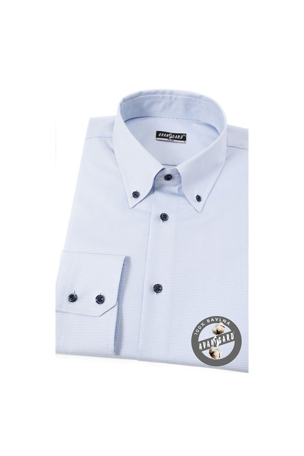 Pánská košile SLIM s propínacím límcem modrá 131 - 1501
