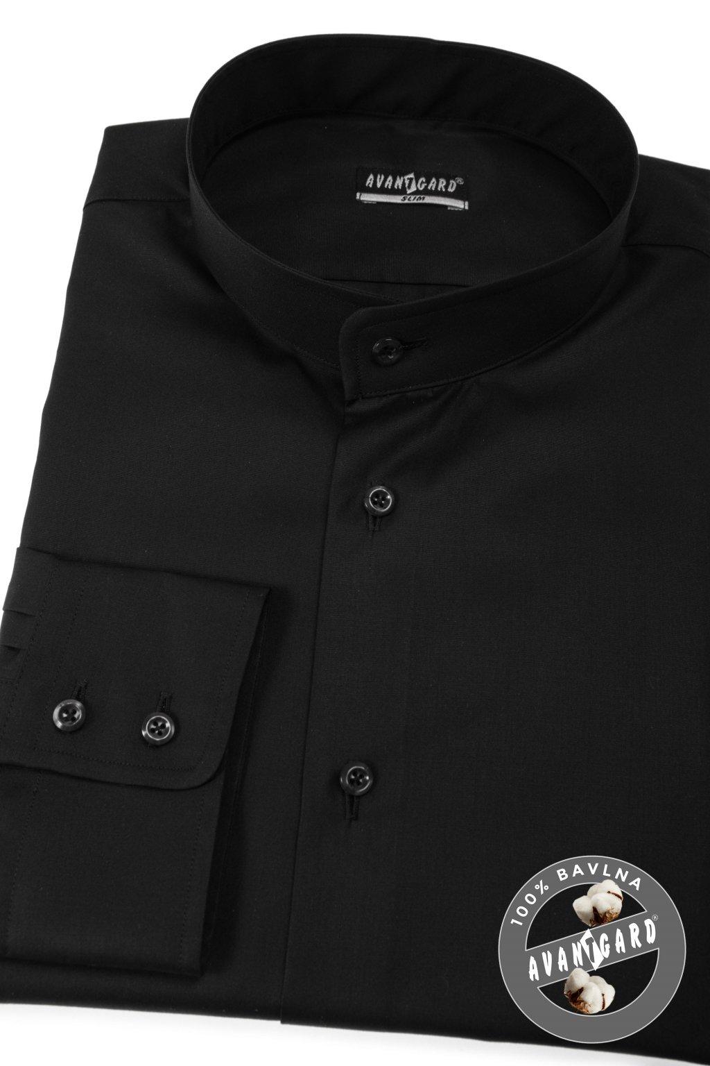 Pánská košile se stojáčkem SLIM dl.rukáv černá 152 - 23