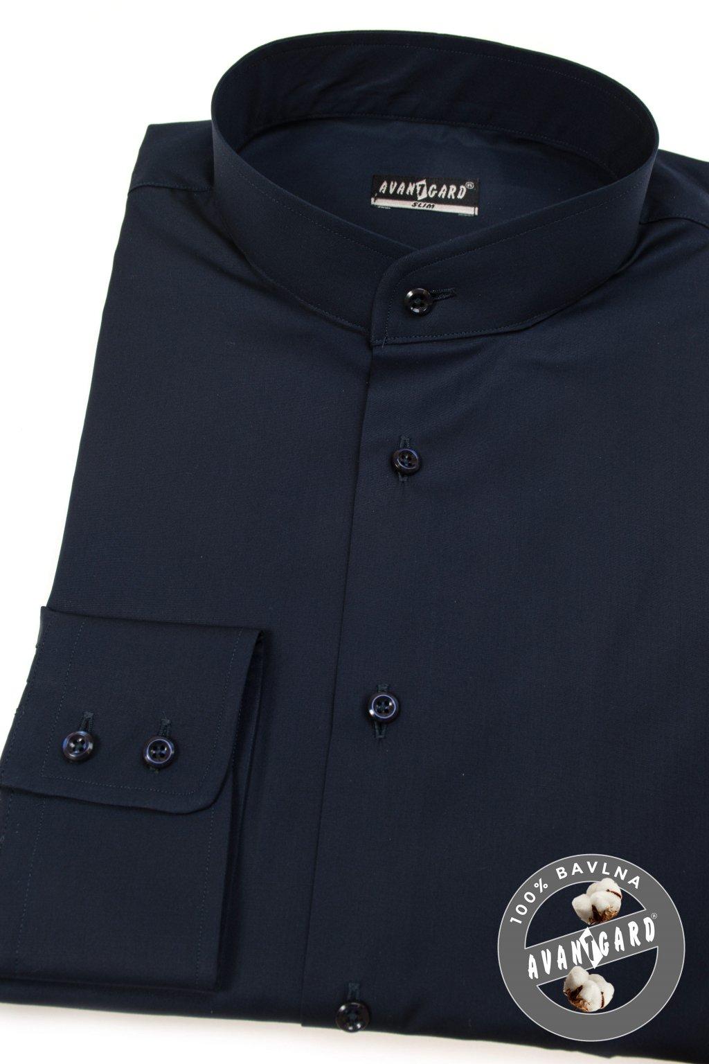 Pánská košile se stojáčkem SLIM dl.rukáv modrá 152 - 31