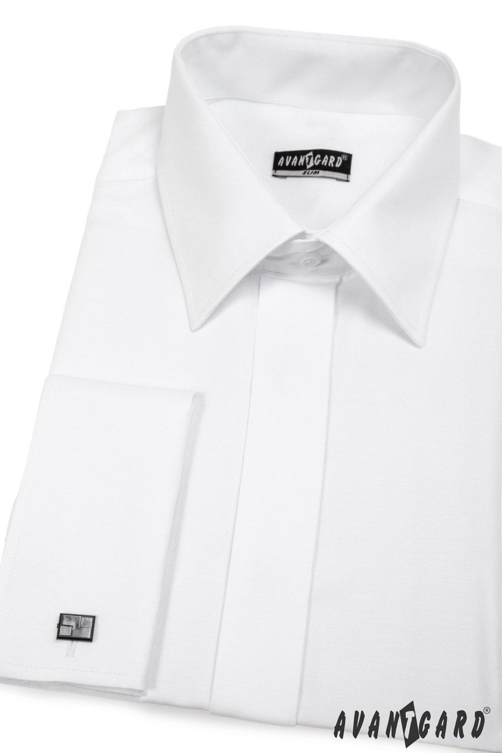 Pánská košile SLIM s krytou légou a dvojitými manžetami na manžetové knoflíčky bílá 160 - 1