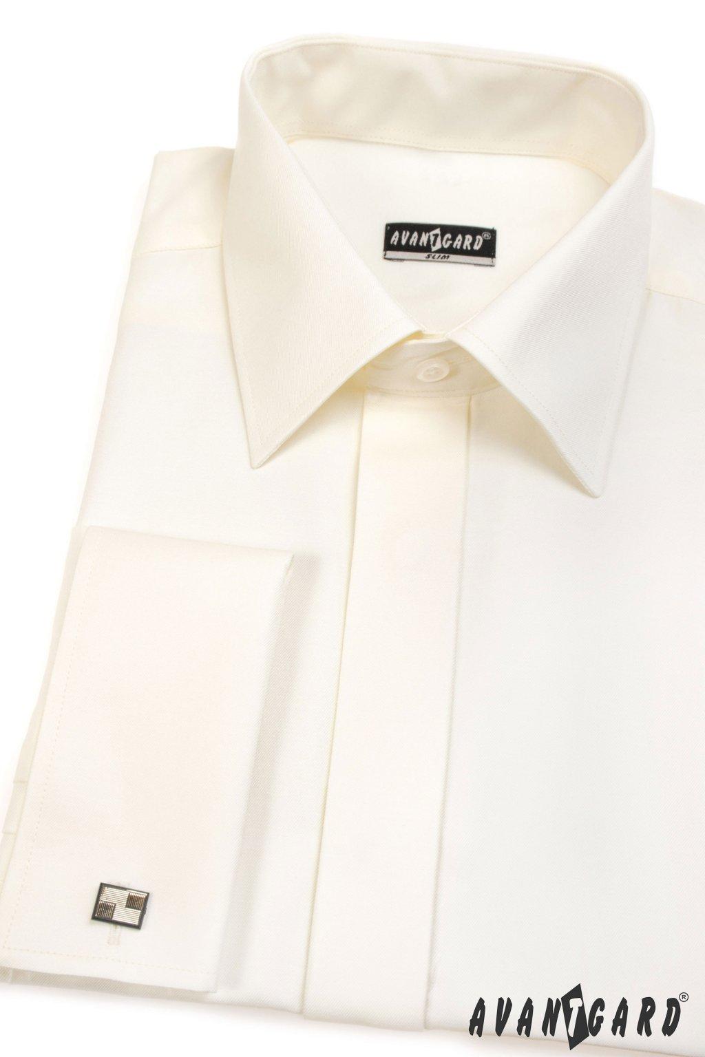 Pánská košile SLIM s krytou légou a dvojitými manžetami na manžetové knoflíčky smetanová 160 - 2