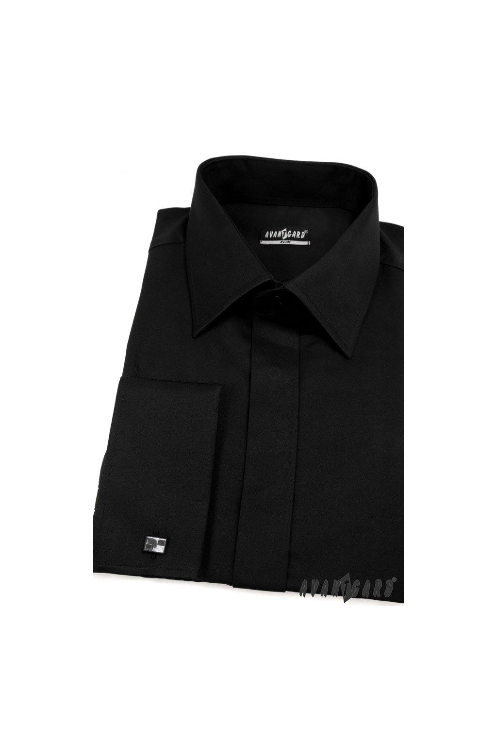 Pánská košile SLIM s krytou légou a dvojitými manžetami na manžetové knoflíčky černá 160 - 23