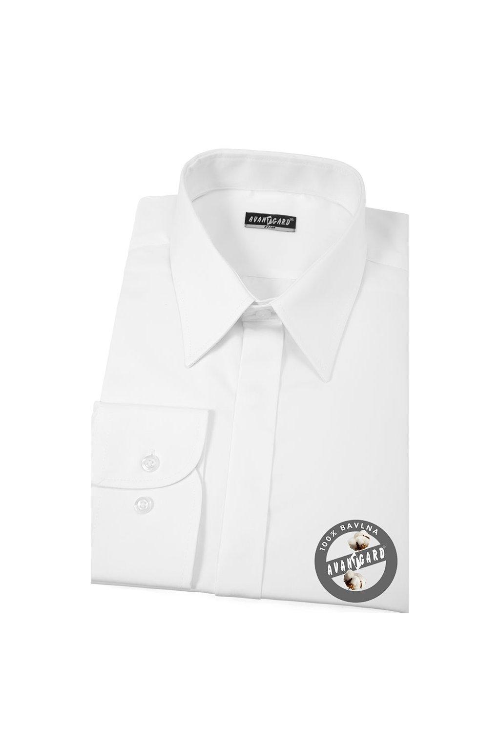 Pánská košile SLIM s krytou légou bílá hladká s leskem 162 - 111