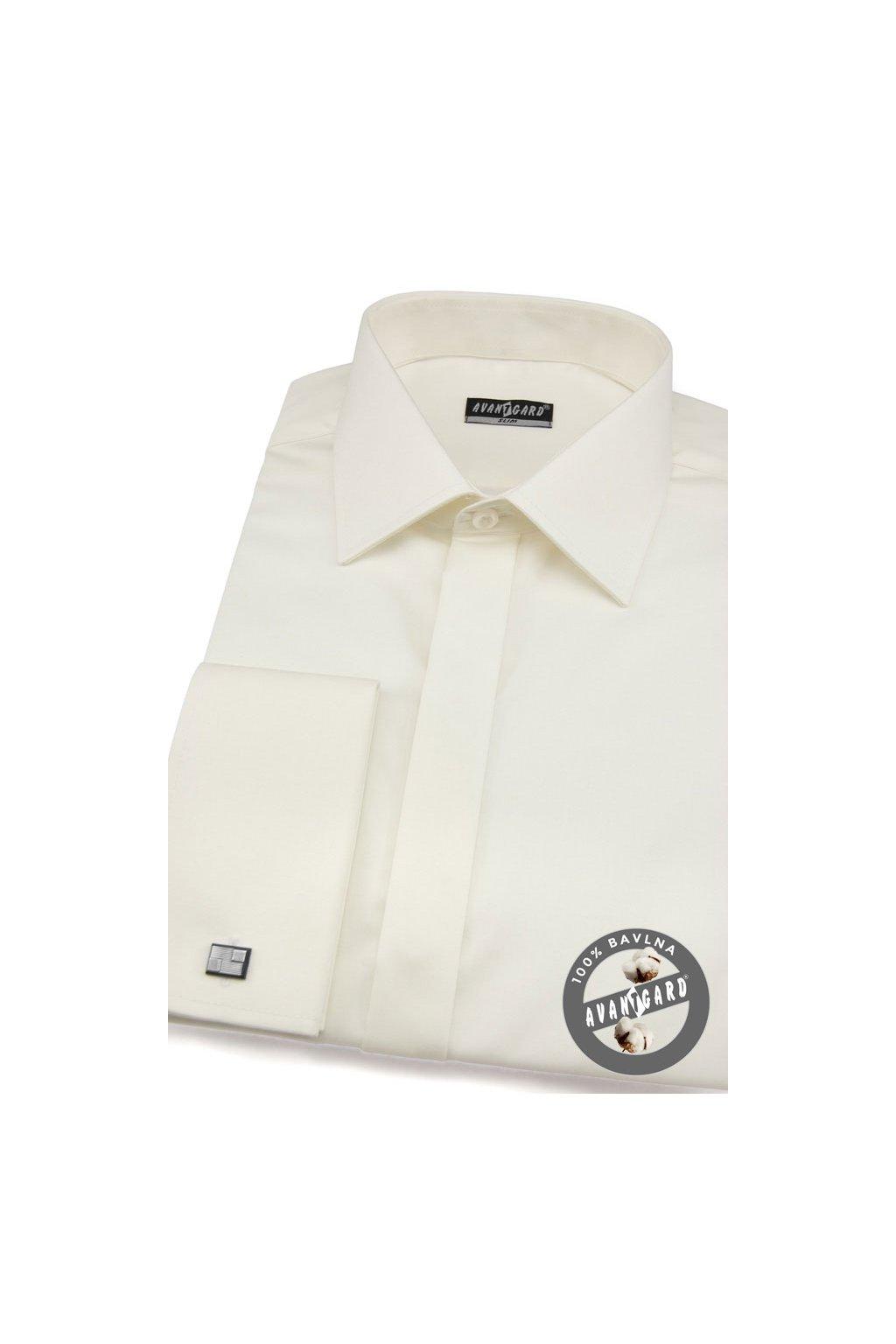 Pánská košile SLIM s krytou légou a dvojitými manžetami na manžetové knoflíčky smetanová hladká s leskem 170 - 222