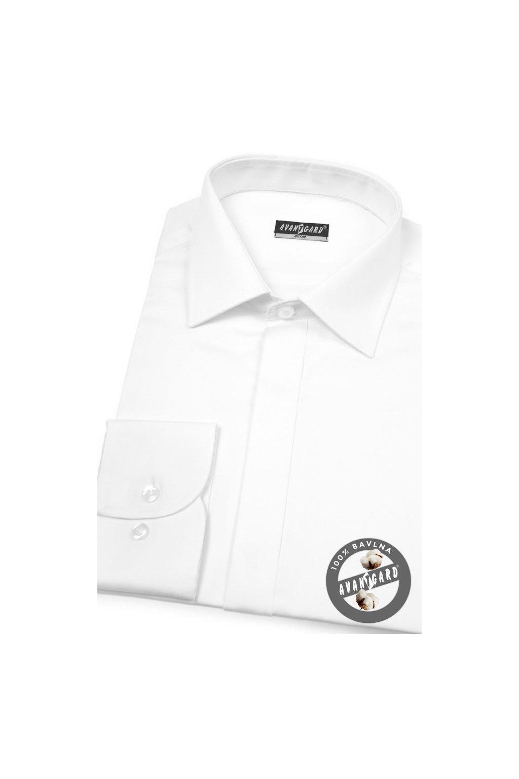 Pánská košile SLIM s krytou légou bílá hladká s leskem 172 - 111