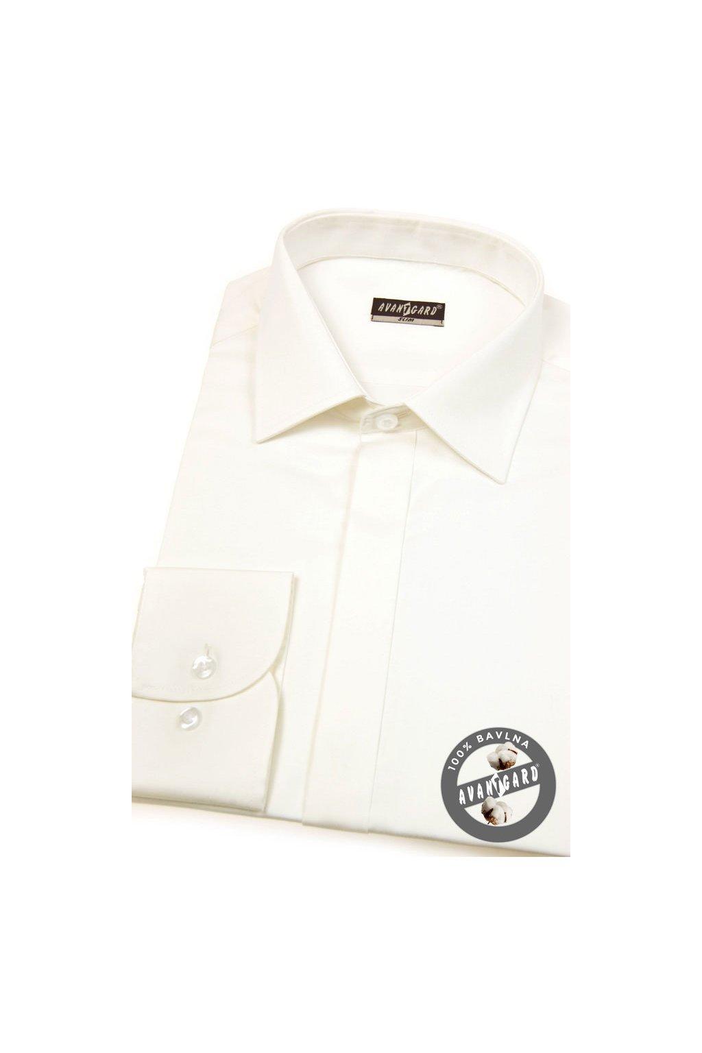 Pánská košile SLIM s krytou légou smetanová hladká s leskem 172 - 222