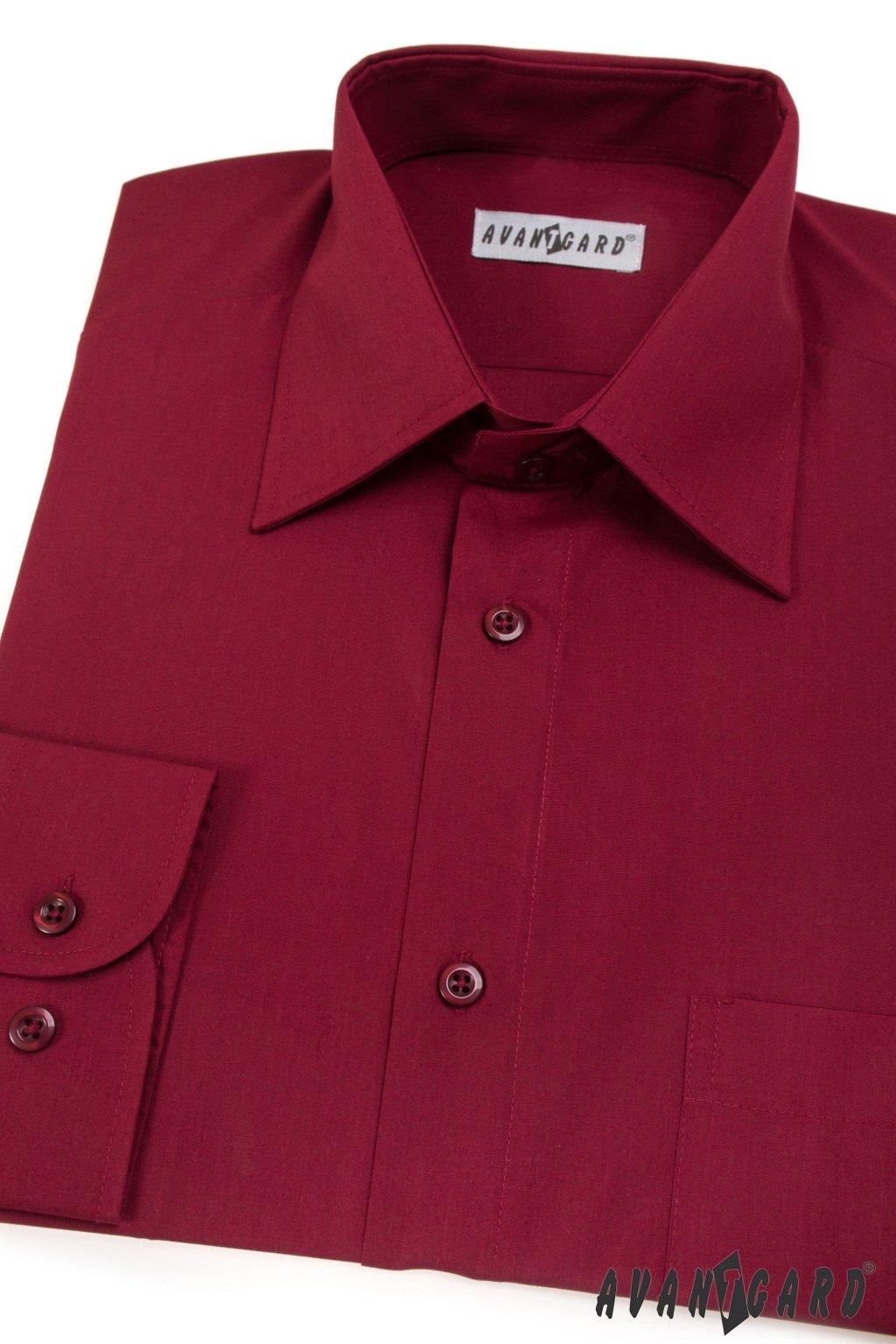 Pánská košile KLASIK s dl.ruk. bordo 451 - 13