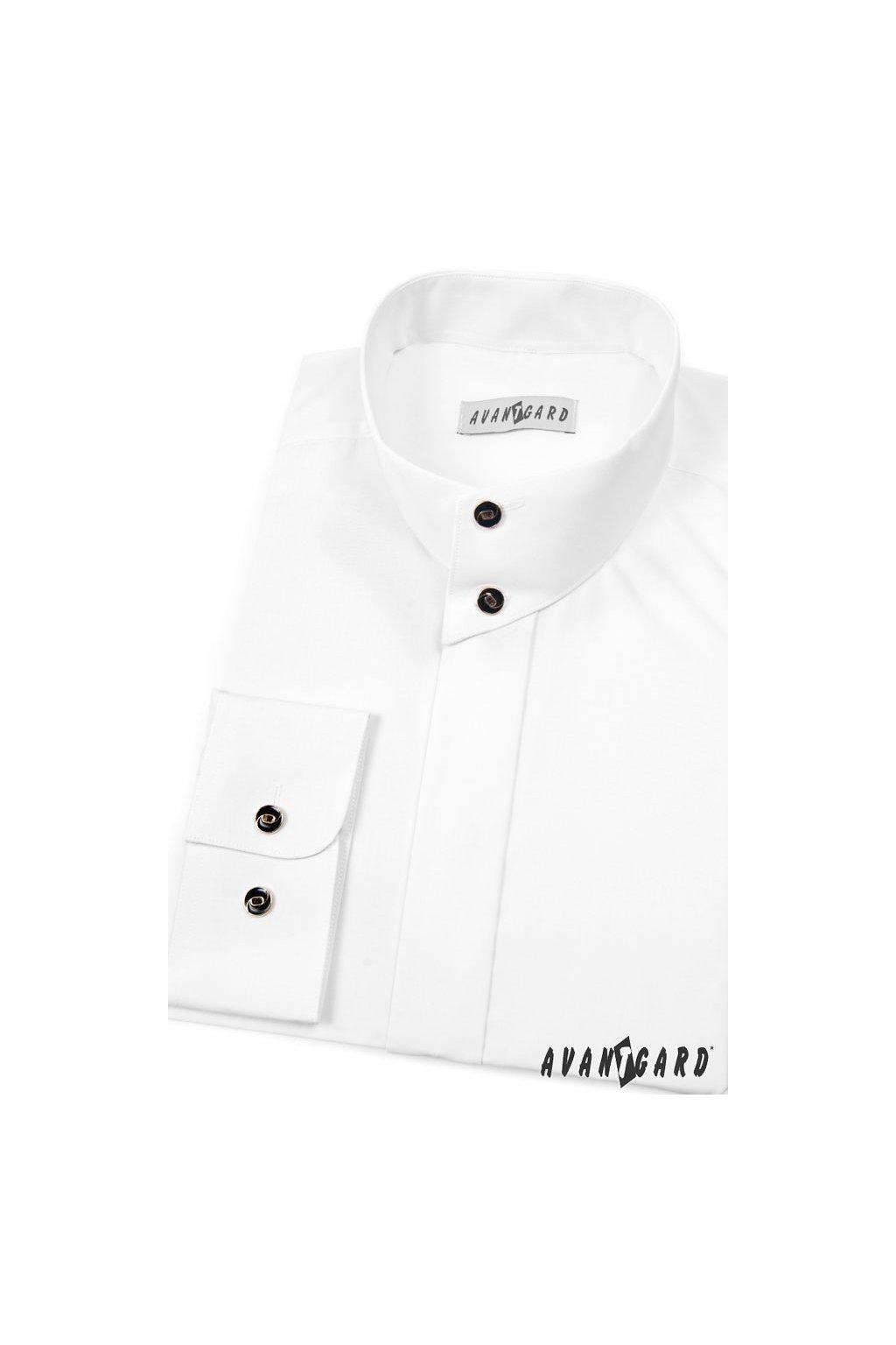 Pánská košile se stojáčkem na 2 knoflíky, dl.rukáv v1-bílá 452 - 1