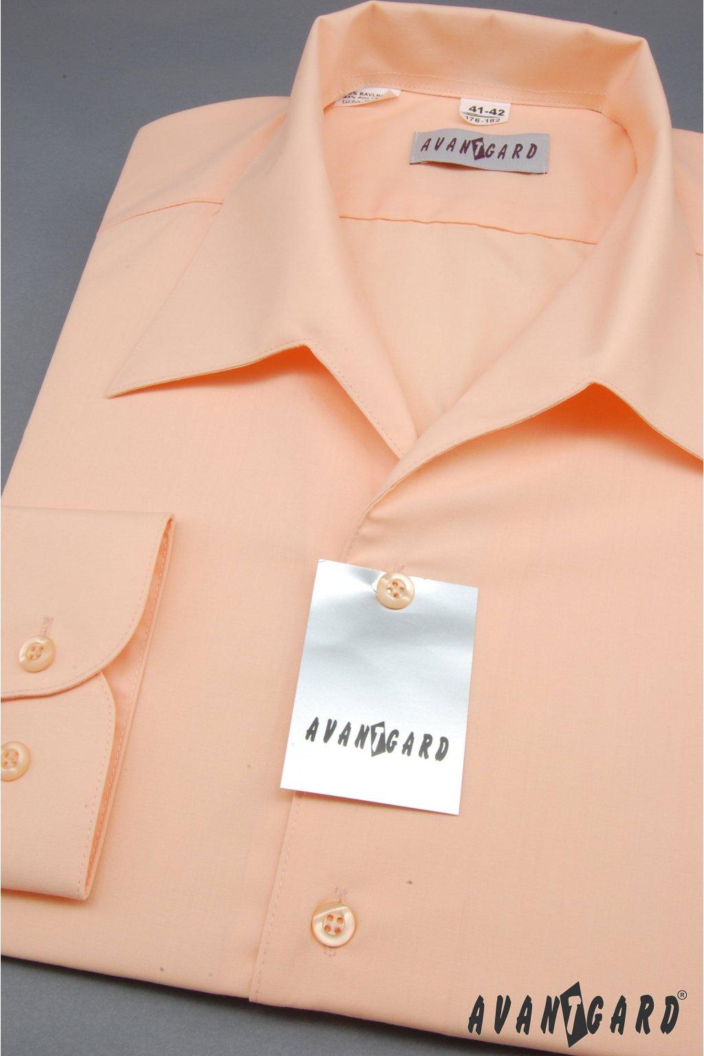 Pánská košile s rozhalenkou, dl.rukáv lososová 457 - 4