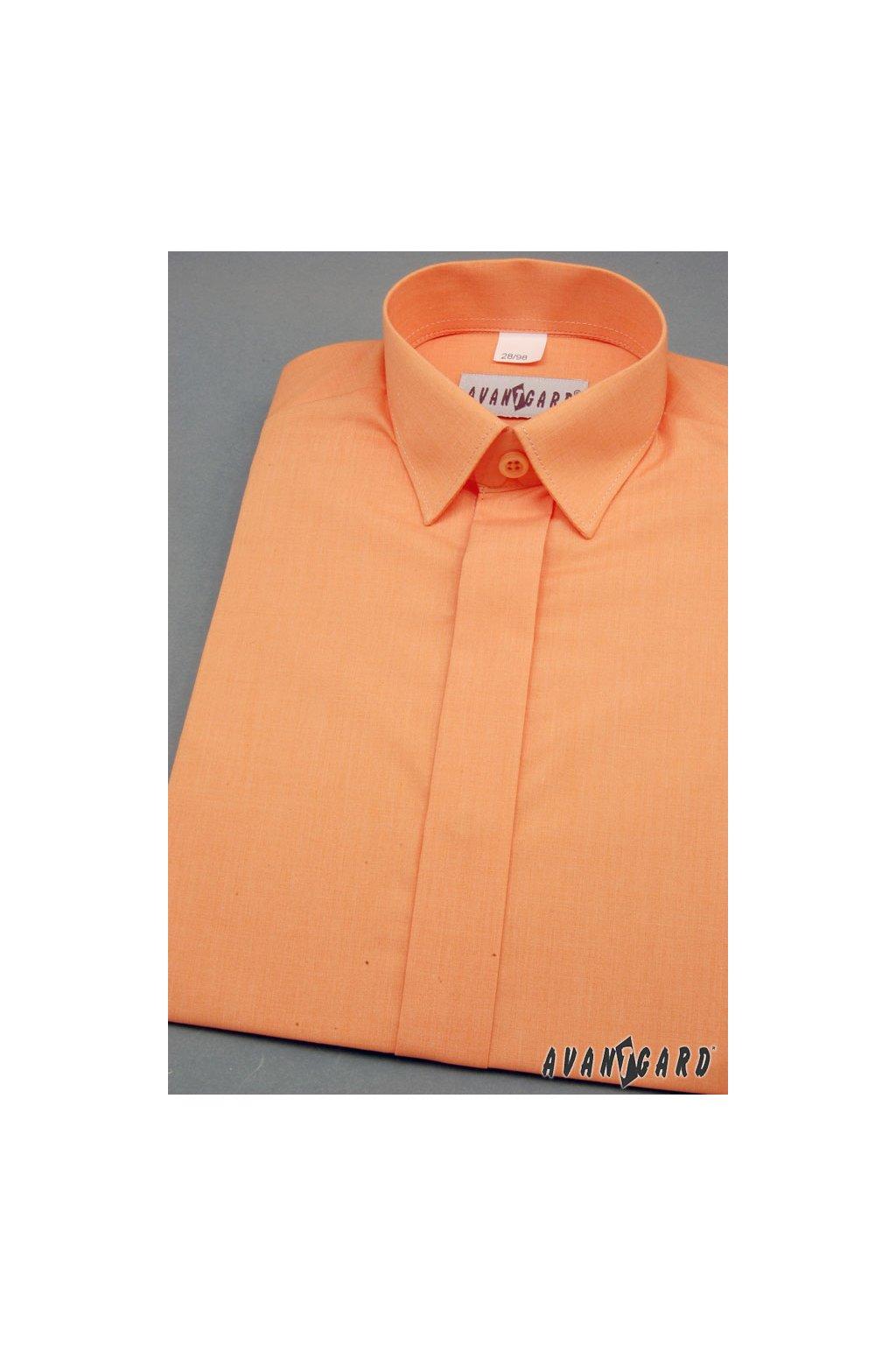 Chlapecká košile KLASIK s krytou légou pomerančová 458 - 10