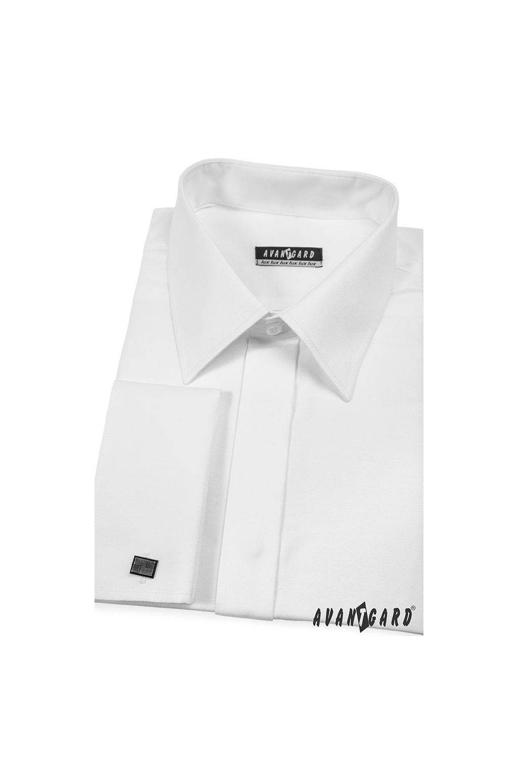 Pánská košile KLASIK s krytou légou a dvojitými manžetami na manžetové knoflíčky bílá 516 - 1