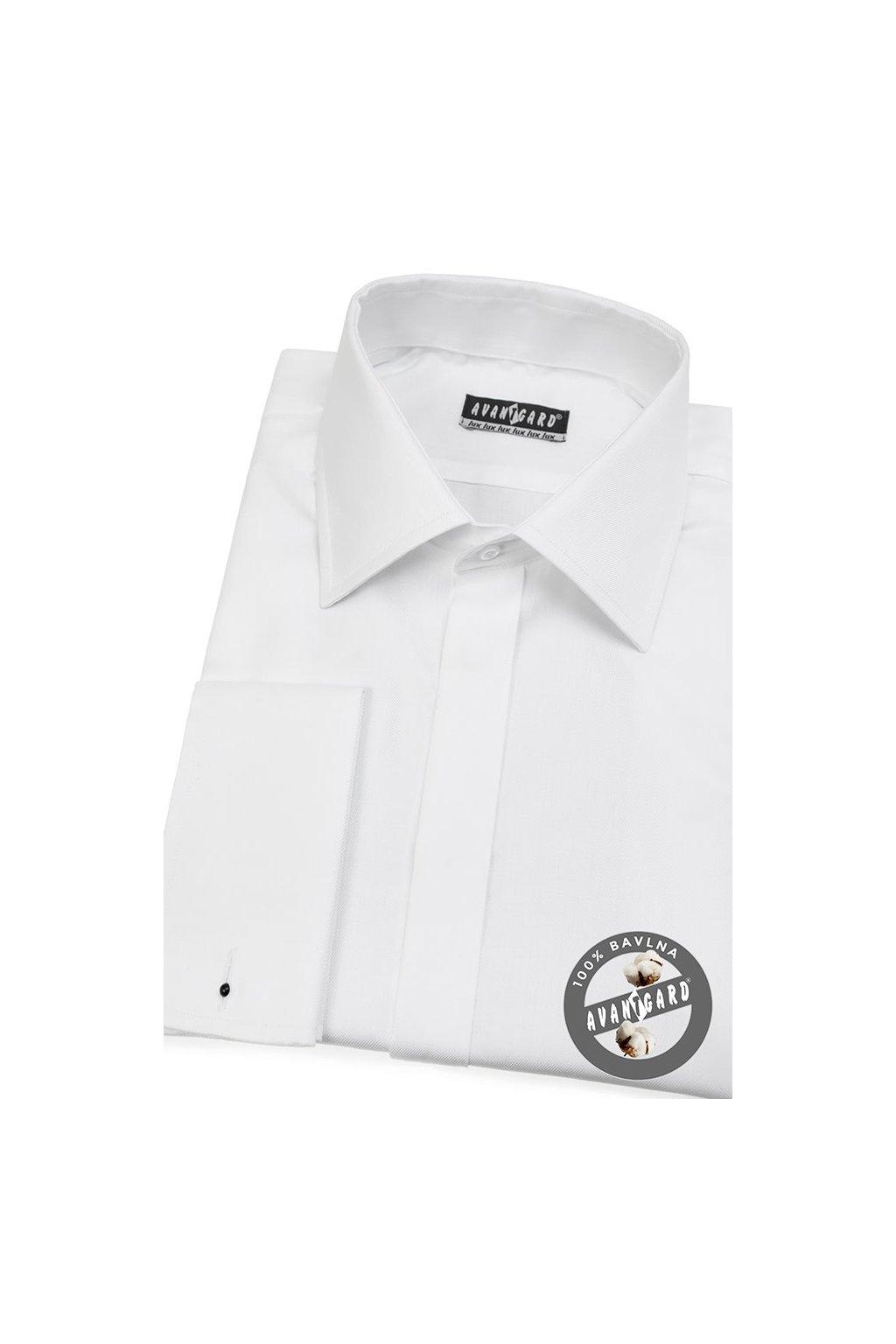Pánská košile LUX s dvojitými manžetami na manžetové knoflíčky bílá 517 - 97