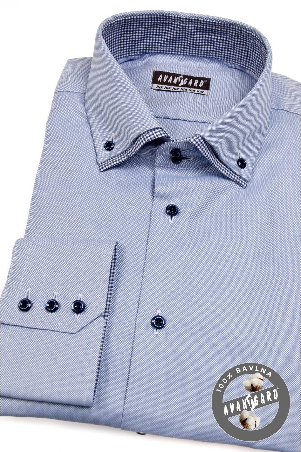 Pánská košile s kombinovaným límečkem modrá 520 - 1516
