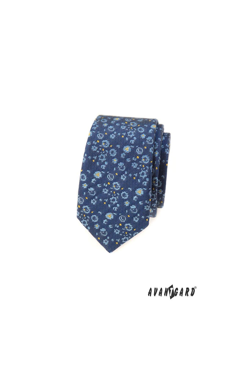 Modrá kravata Slim s květy 551 - 1616