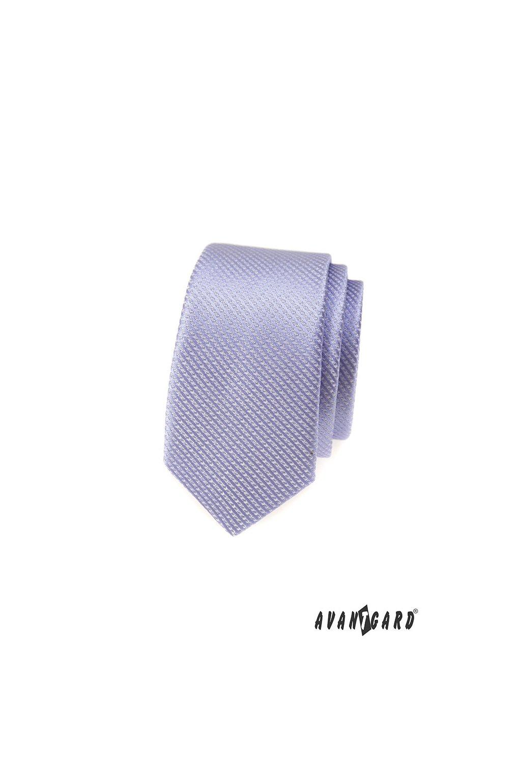 Lila kravata Slim vroubkovaná 551 - 319