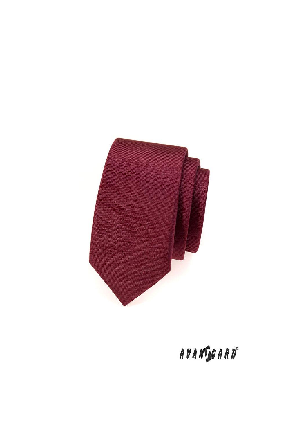 Bordó kravata Slim matná 551 - 7054