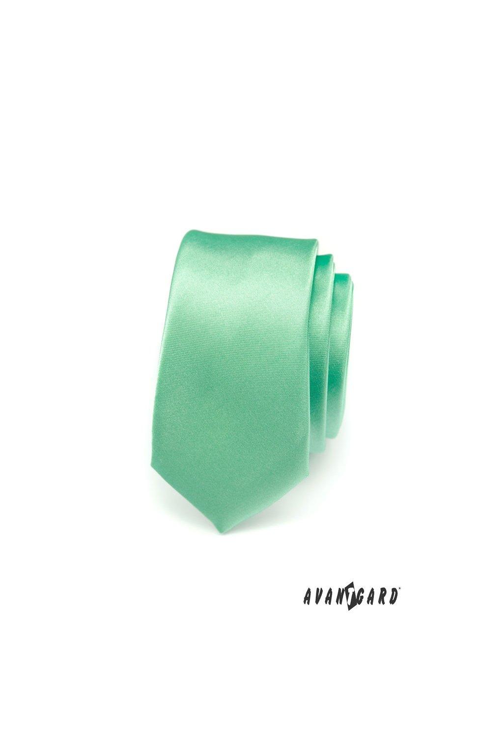 Zelená kravata Slim lesklá 551 - 793