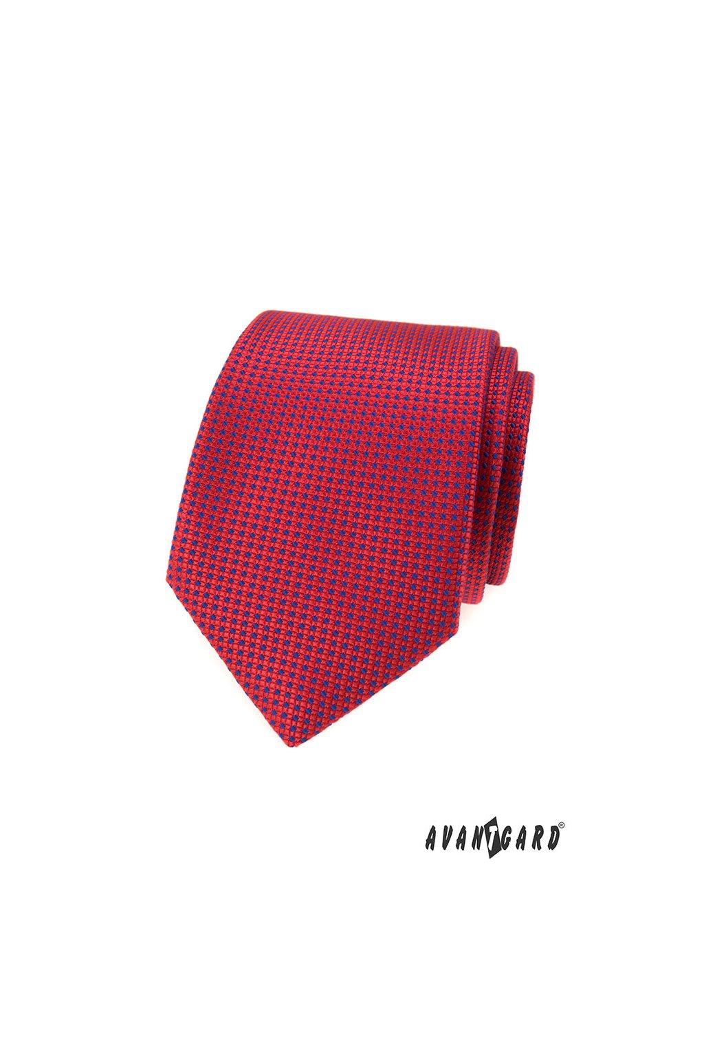 Červená kravata modrý vzorek 559 - 350