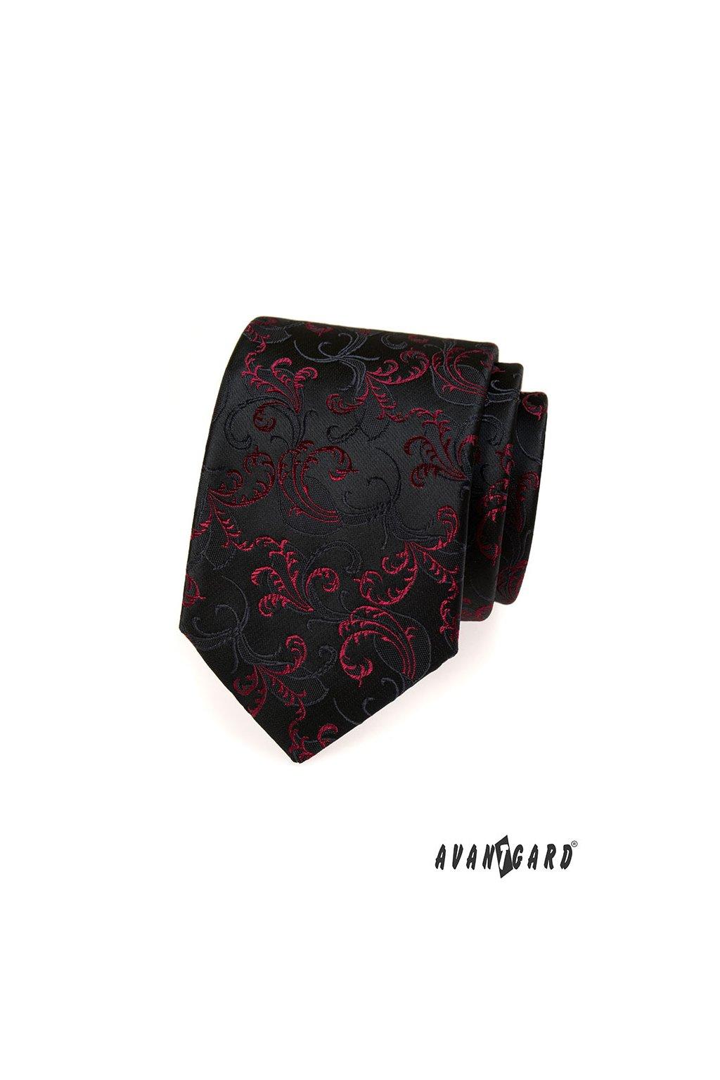Černá luxusní kravata s červeným ornamentem 561 - 14