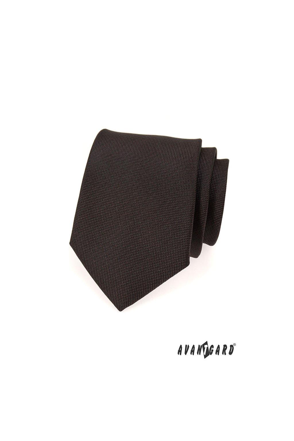 Sytě hnědá luxusní kravata 561 - 14984
