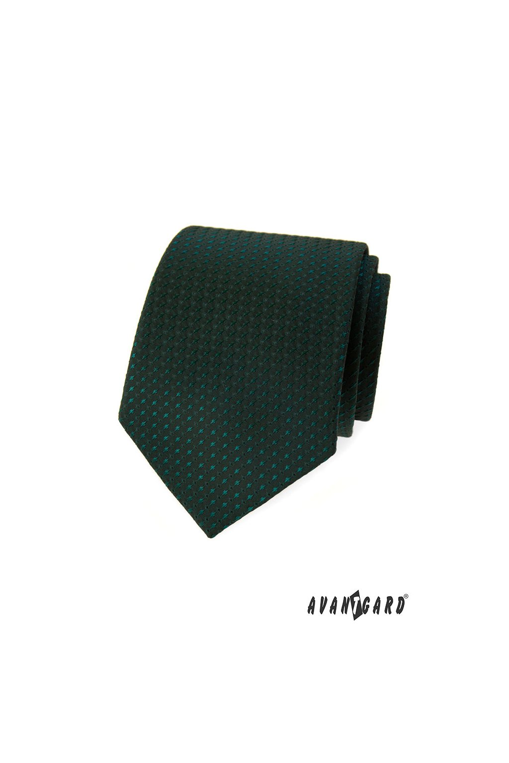 Tmavě zelená luxusní kravata s tečkou 561 - 2056