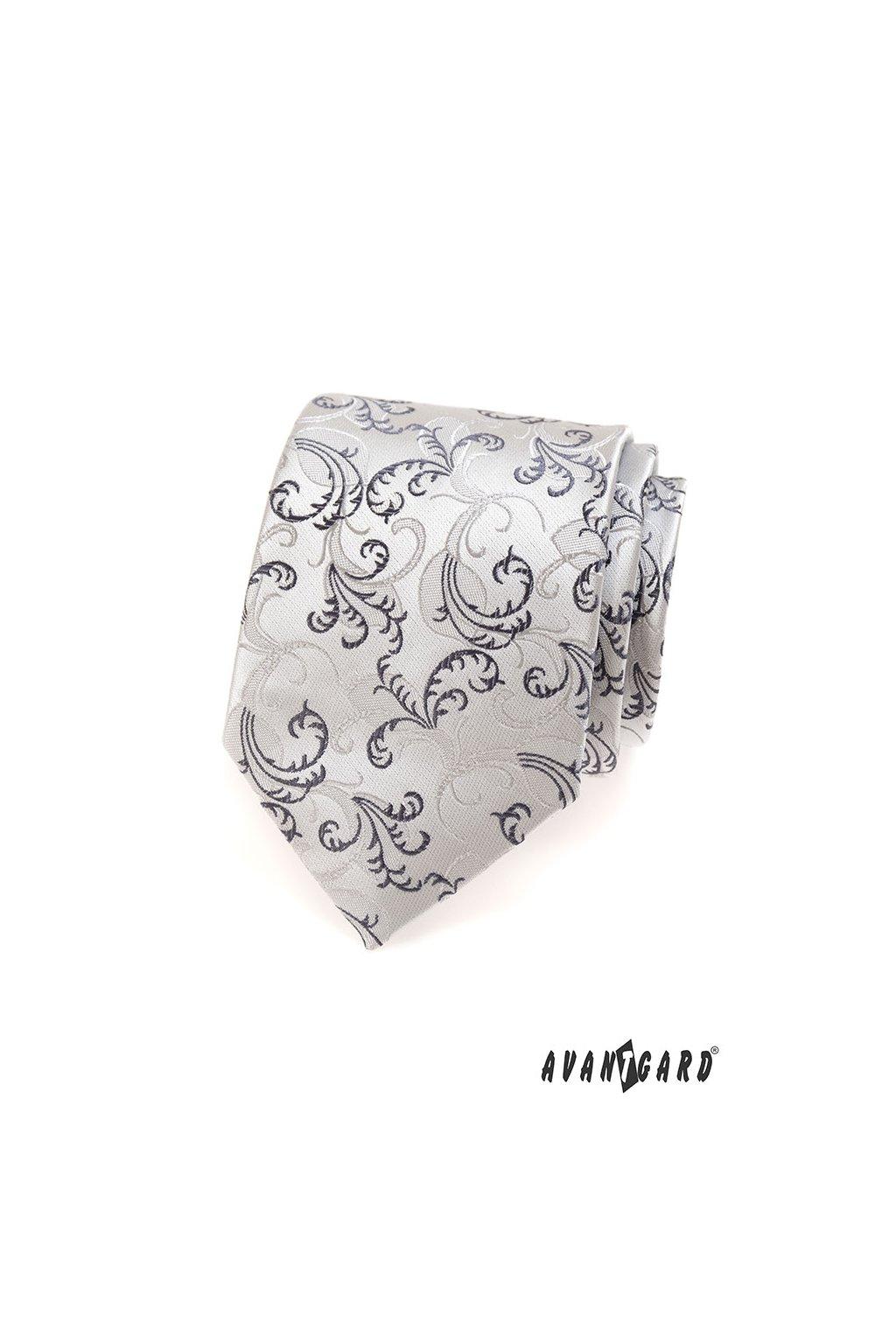 Šedá luxusní kravata s černými ornamenty 561 - 36