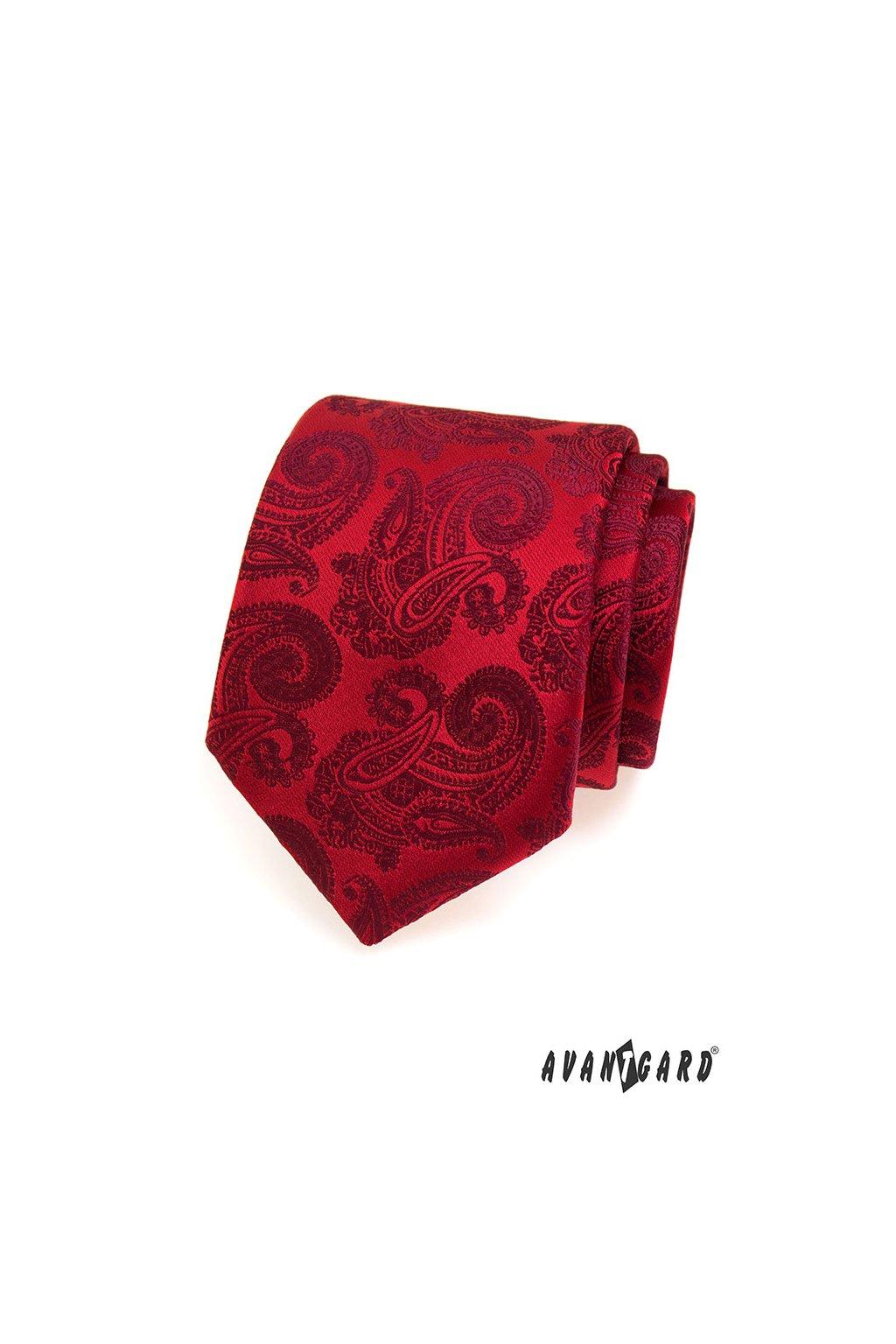 Červená luxusní kravata s ornamenty 561 - 43