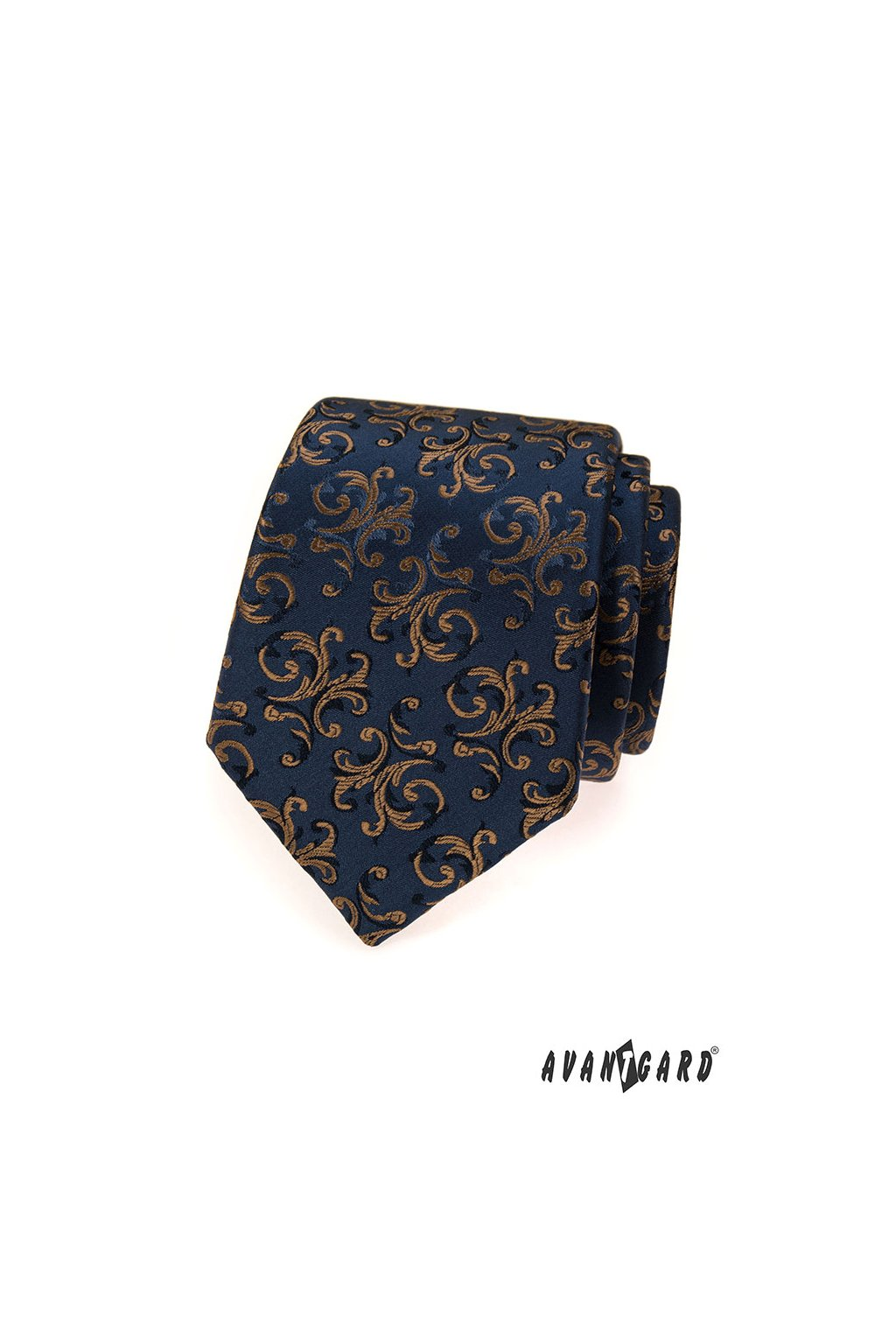 Modrá luxusní kravata s modrými ornamenty 561 - 54