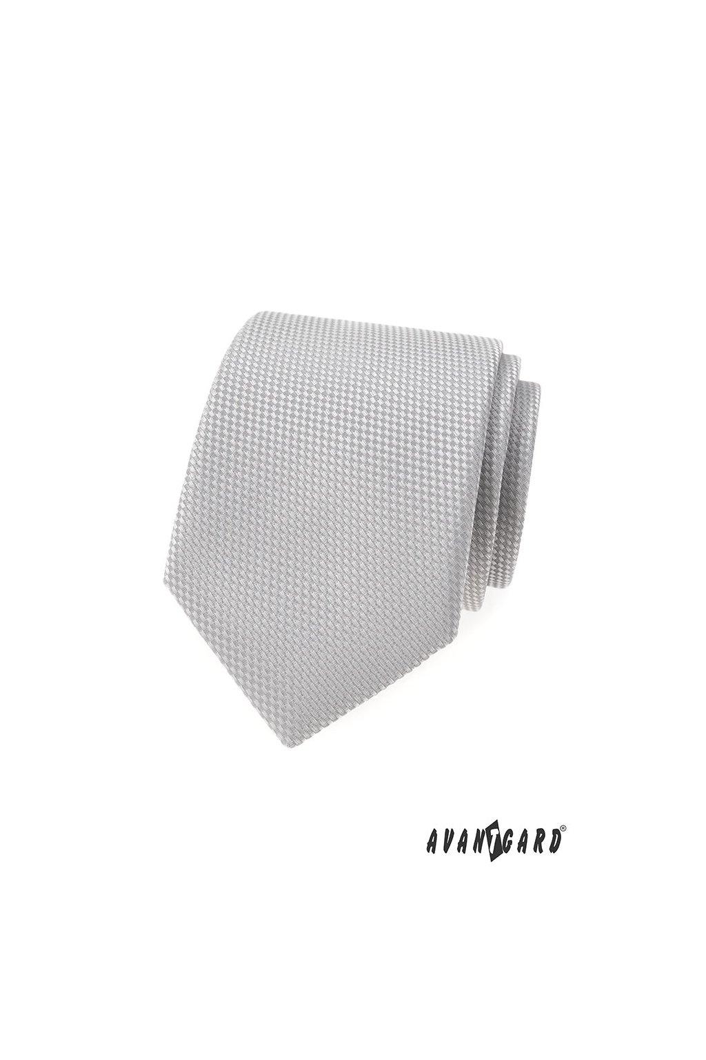 Šedá luxusní kravata s jemným vzorkem 561 - 55000