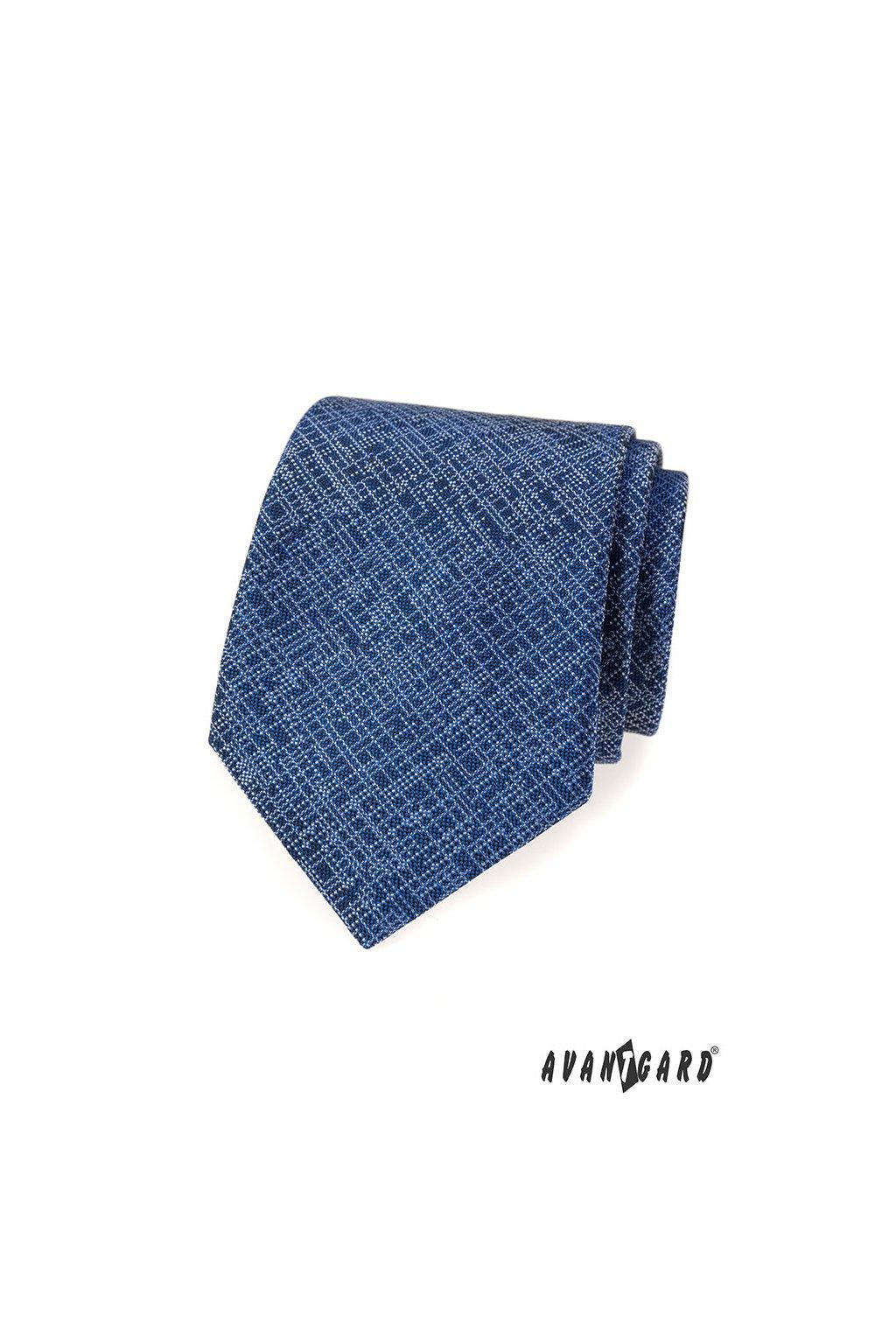 Modrá luxusní kravata s bílou linkou 561 - 55003