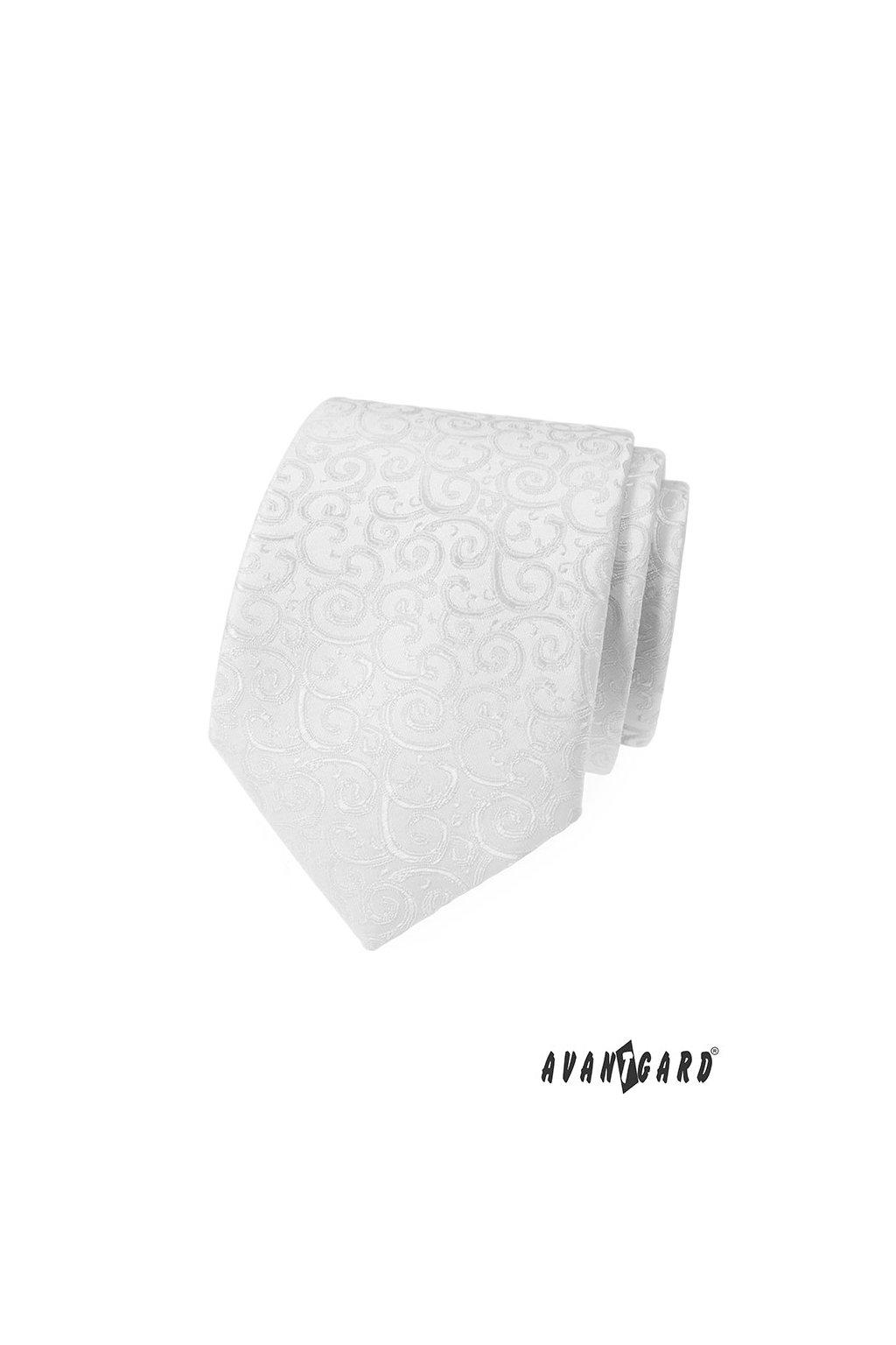 Bílá luxusní kravata s jemným vzorkem 561 - 59