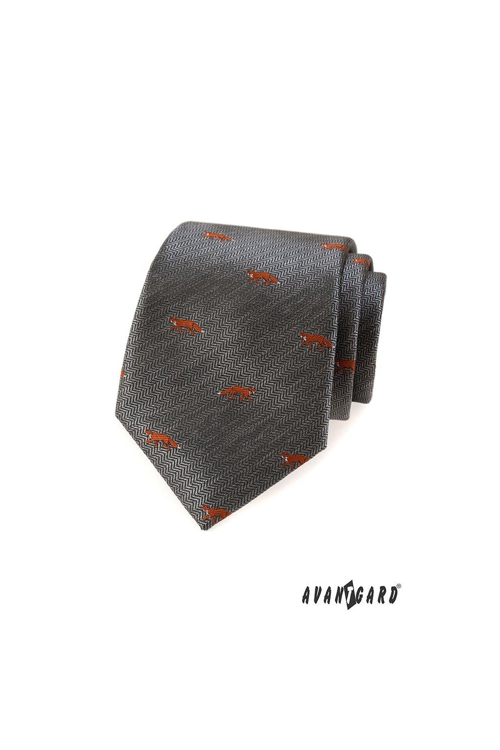Šedá luxusní kravata s liškou 561 - 62231