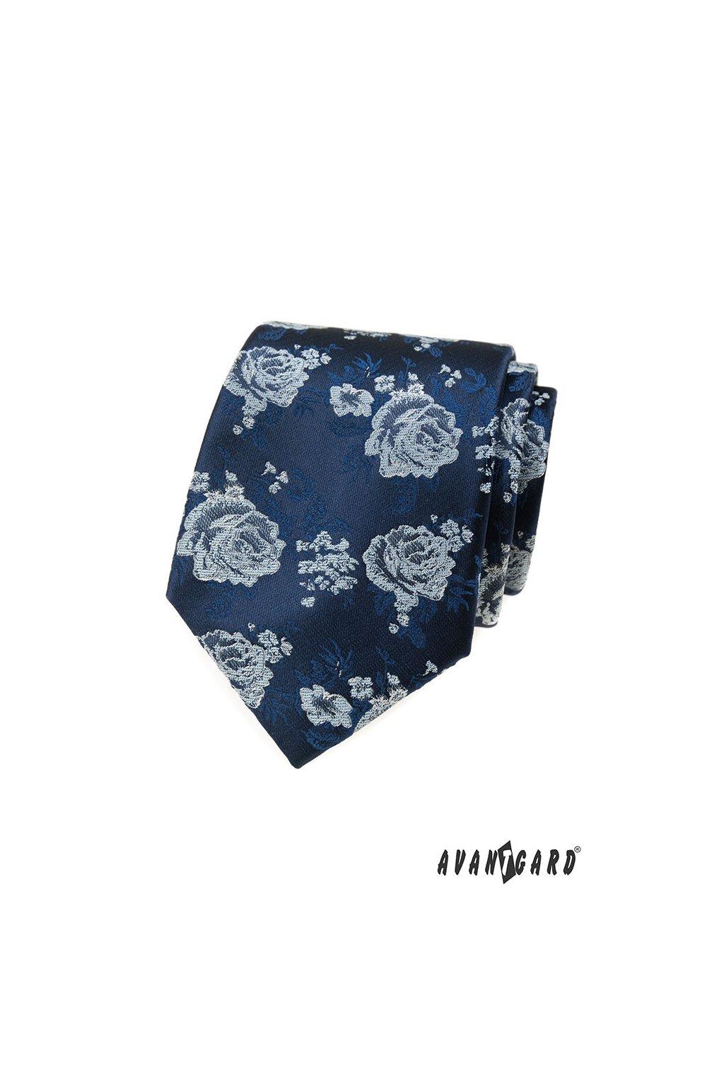 Tmavě modrá luxusní kravata s růží 561 - 62375