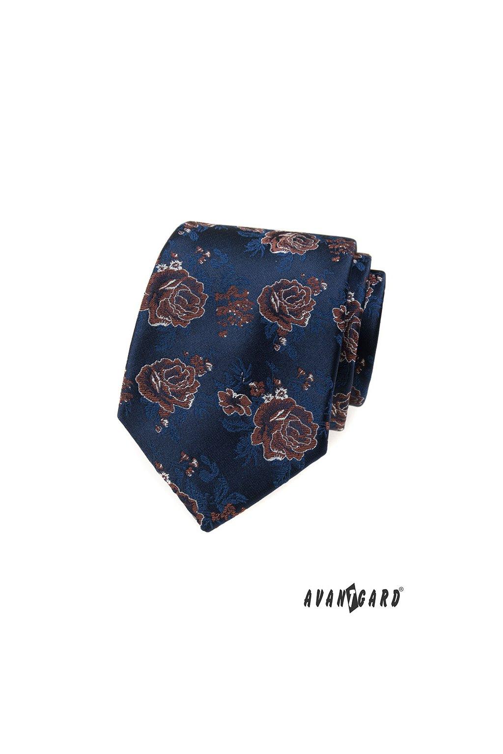 Modrá luxusní kravata s hnědou růží 561 - 62378