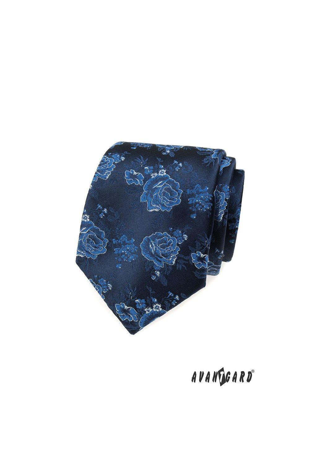 Modrá luxusní kravata s růží 561 - 62379