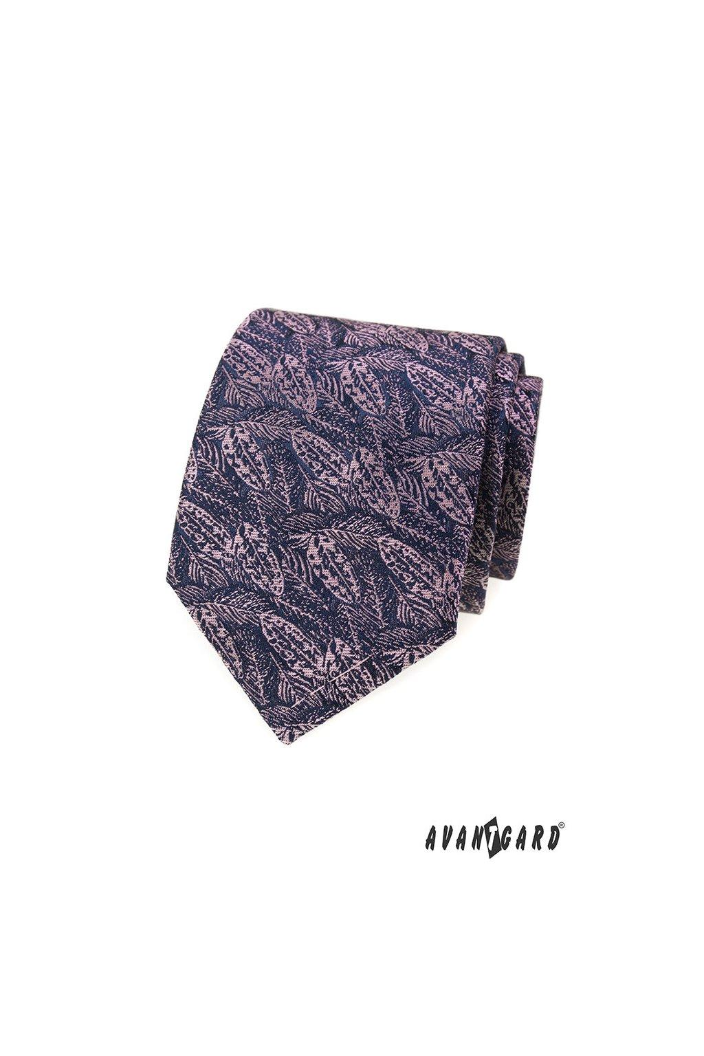 Modrá luxusní kravata s růžovými listy 561 - 62380