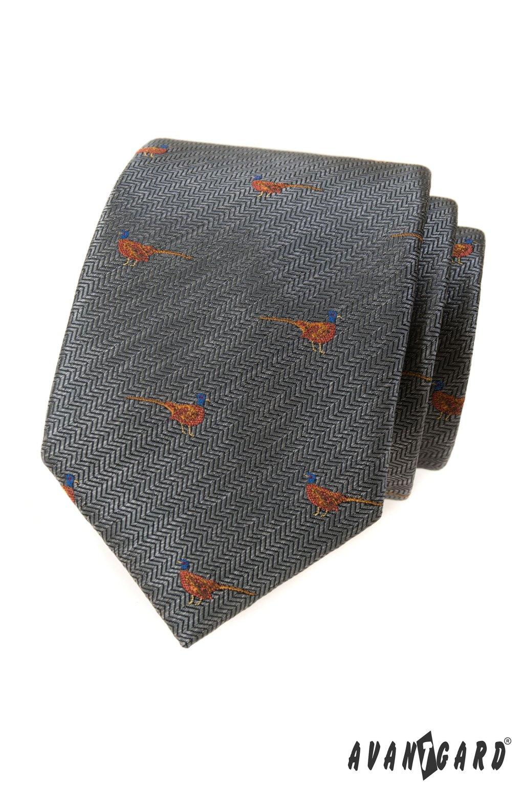 Šedá luxusní kravata s bažantem 561 - 62390