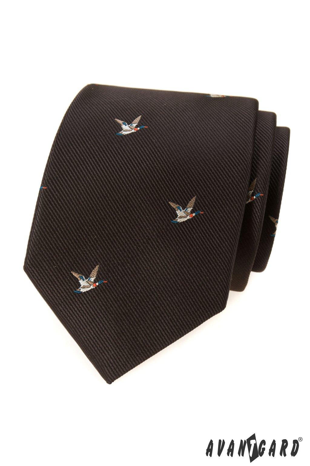 Hnědá luxusní kravata s kachnou 561 - 62395