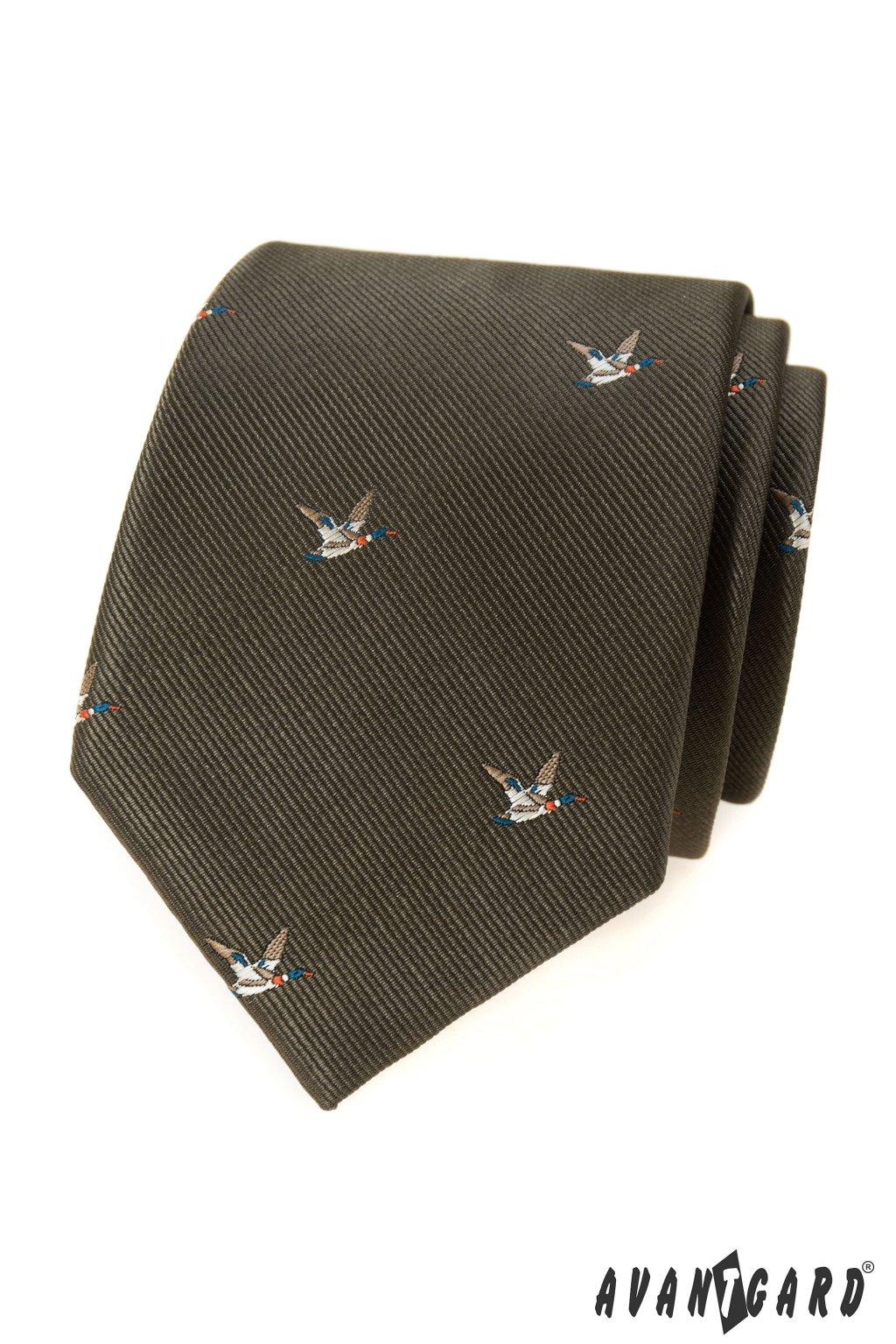 Zelená luxusní kravata s kachnou 561 - 62396
